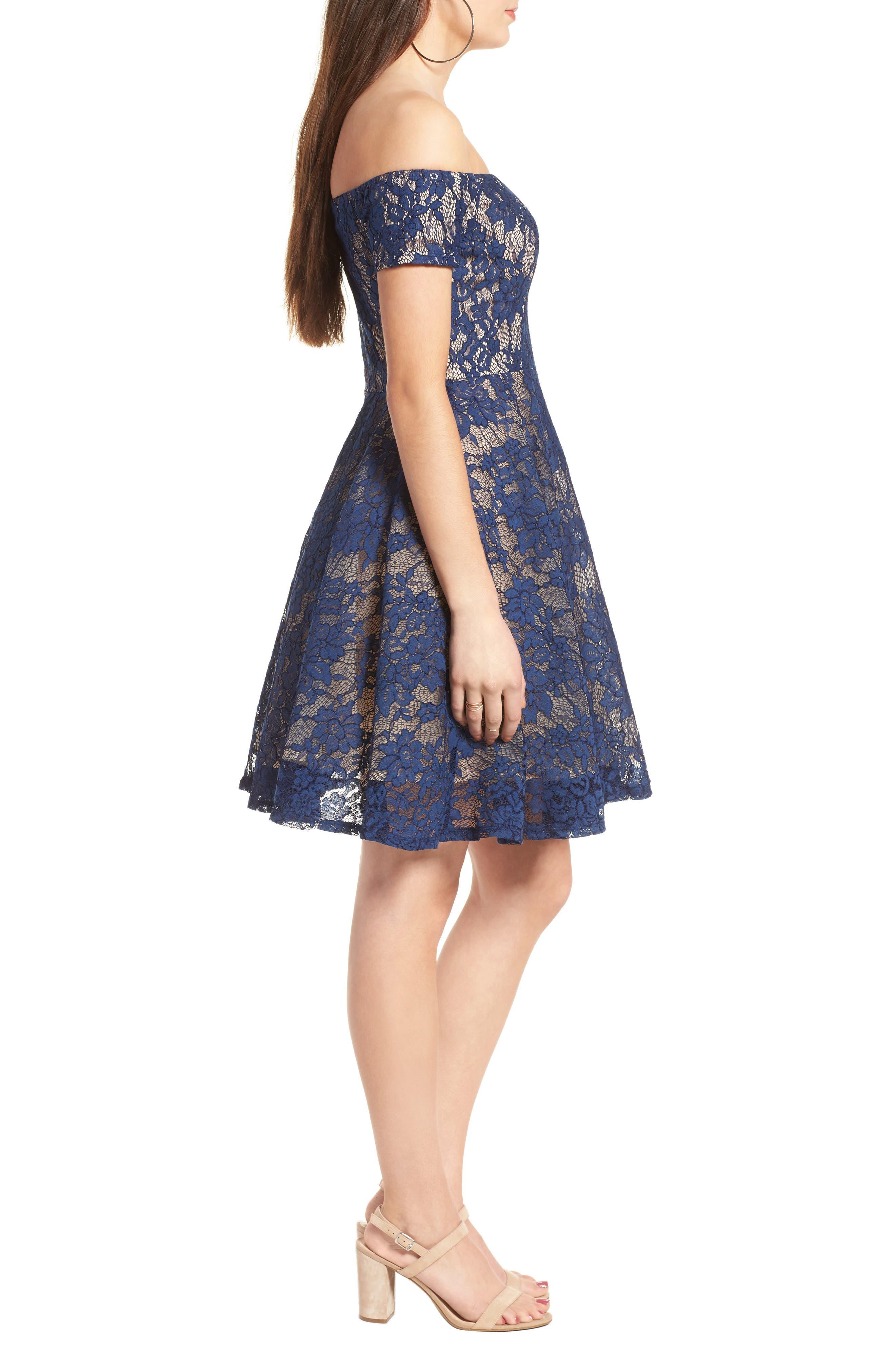 Lace Off the Shoulder Fit & Flare Dress,                             Alternate thumbnail 18, color,