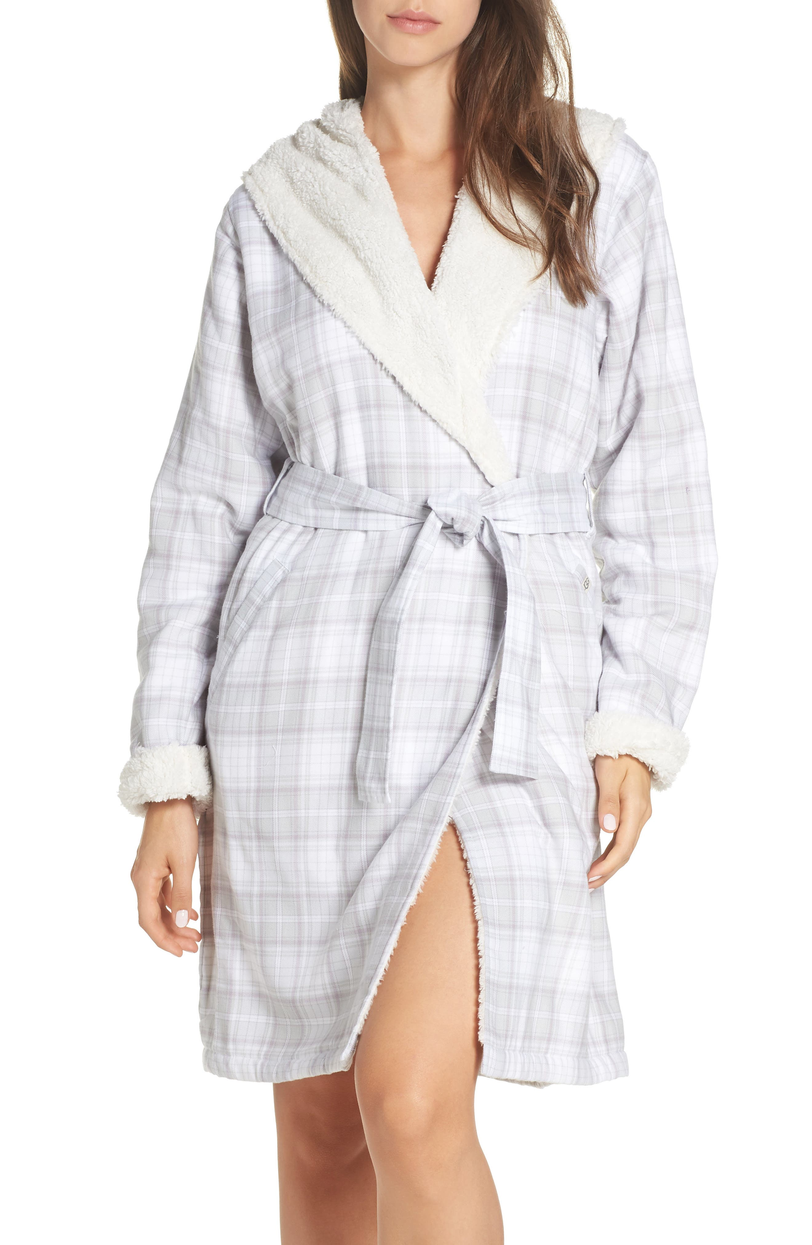 Anika Fleece Lined Flannel Robe,                             Main thumbnail 1, color,                             LAVENDER AURA PLAID