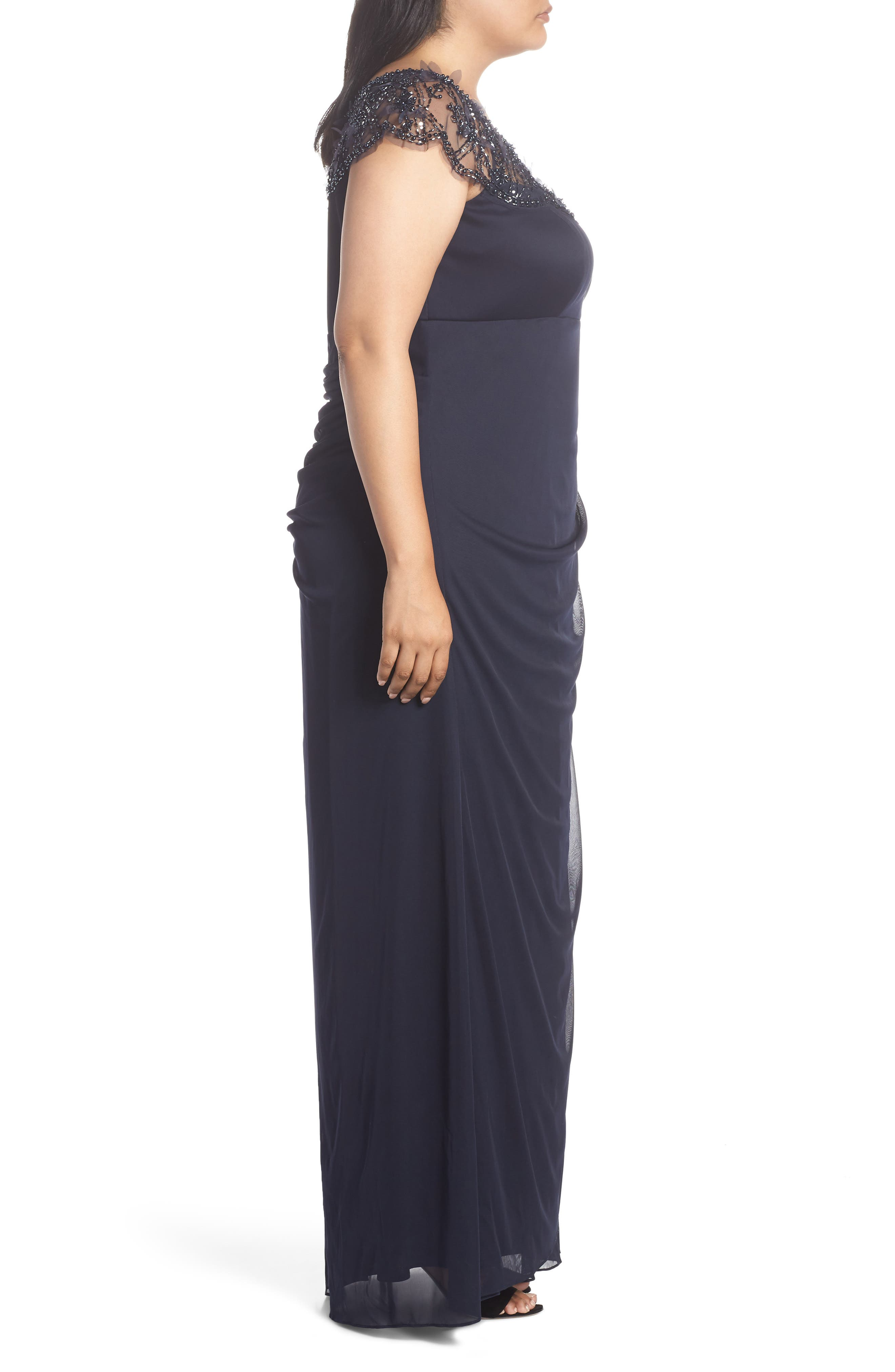 Ruched Side Beaded Gown,                             Alternate thumbnail 3, color,                             NAVY/ NAVY