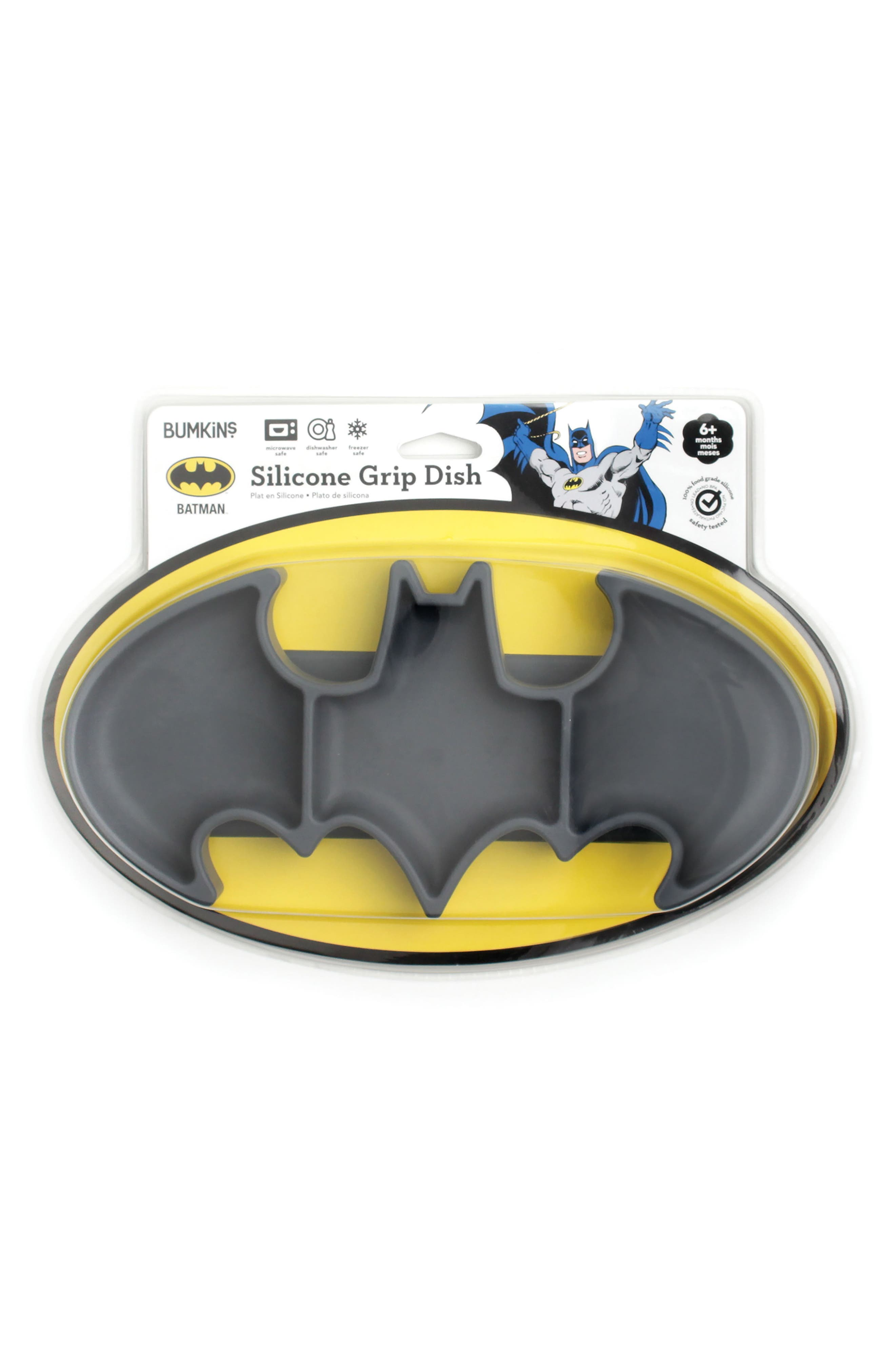 Batman Grip Dish & Caped SuperBib Set,                             Alternate thumbnail 4, color,                             001