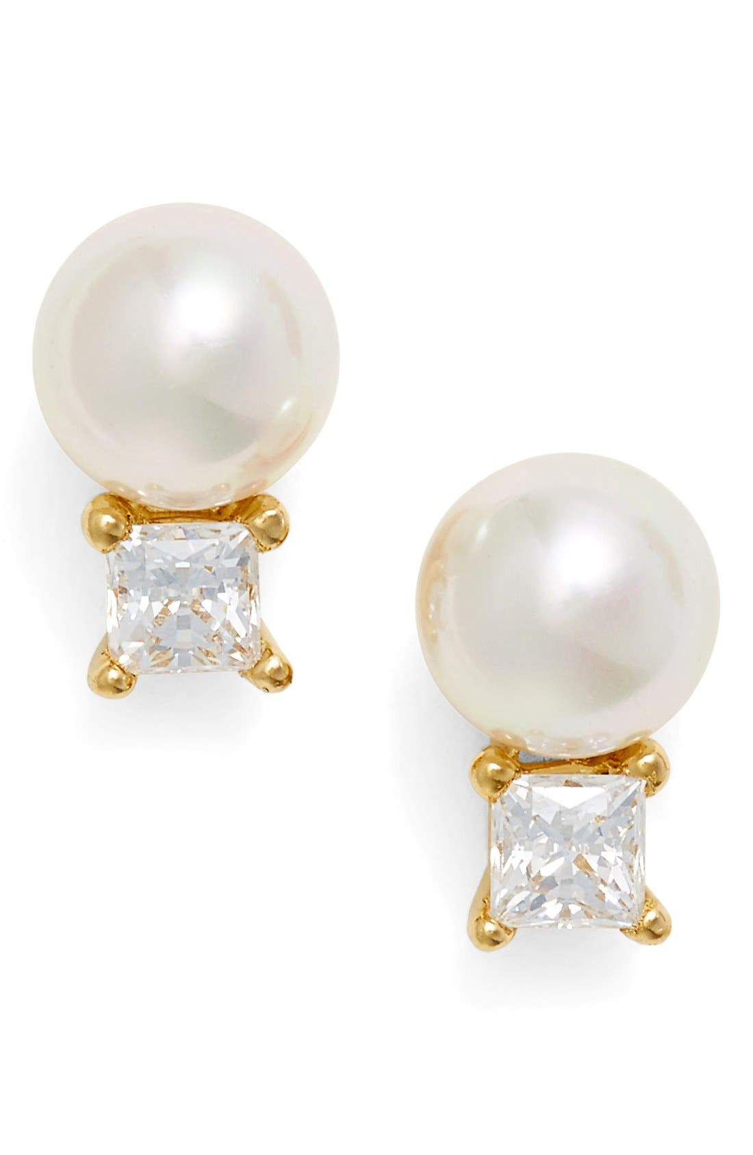 Cubic Zirconia & Faux Pearl Stud Earrings,                         Main,                         color, WHITE