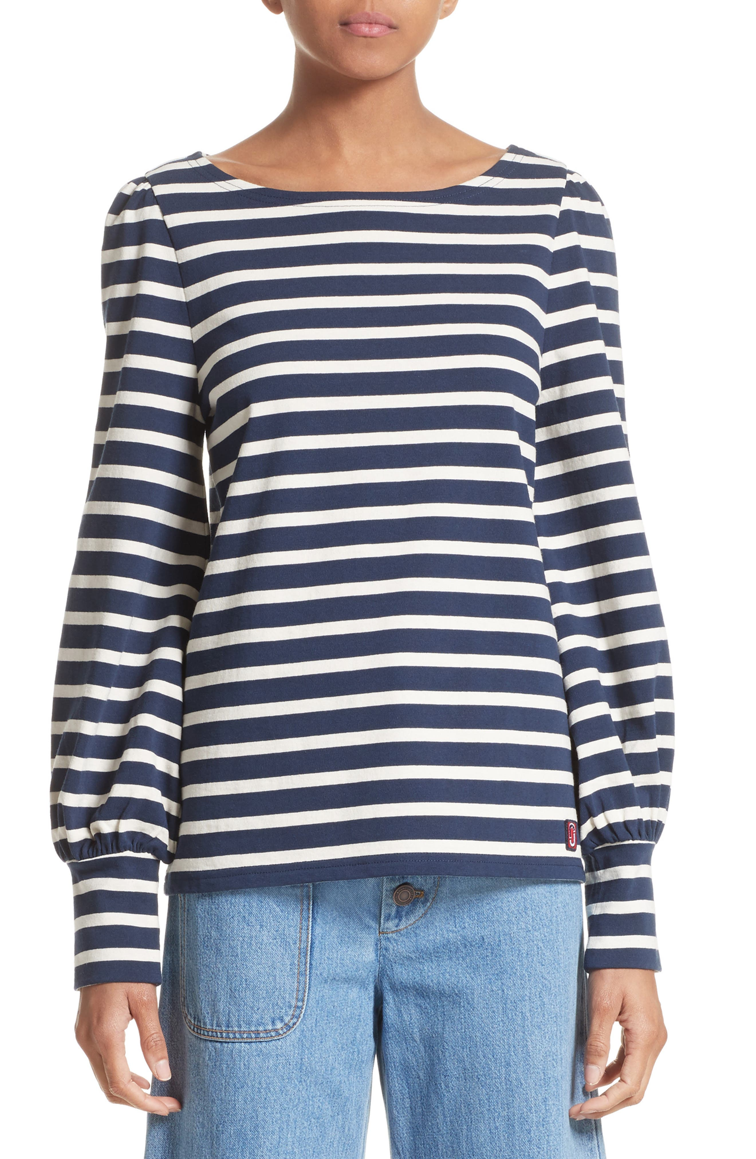 Reverse Breton Stripe Bell Sleeve Top,                             Main thumbnail 1, color,