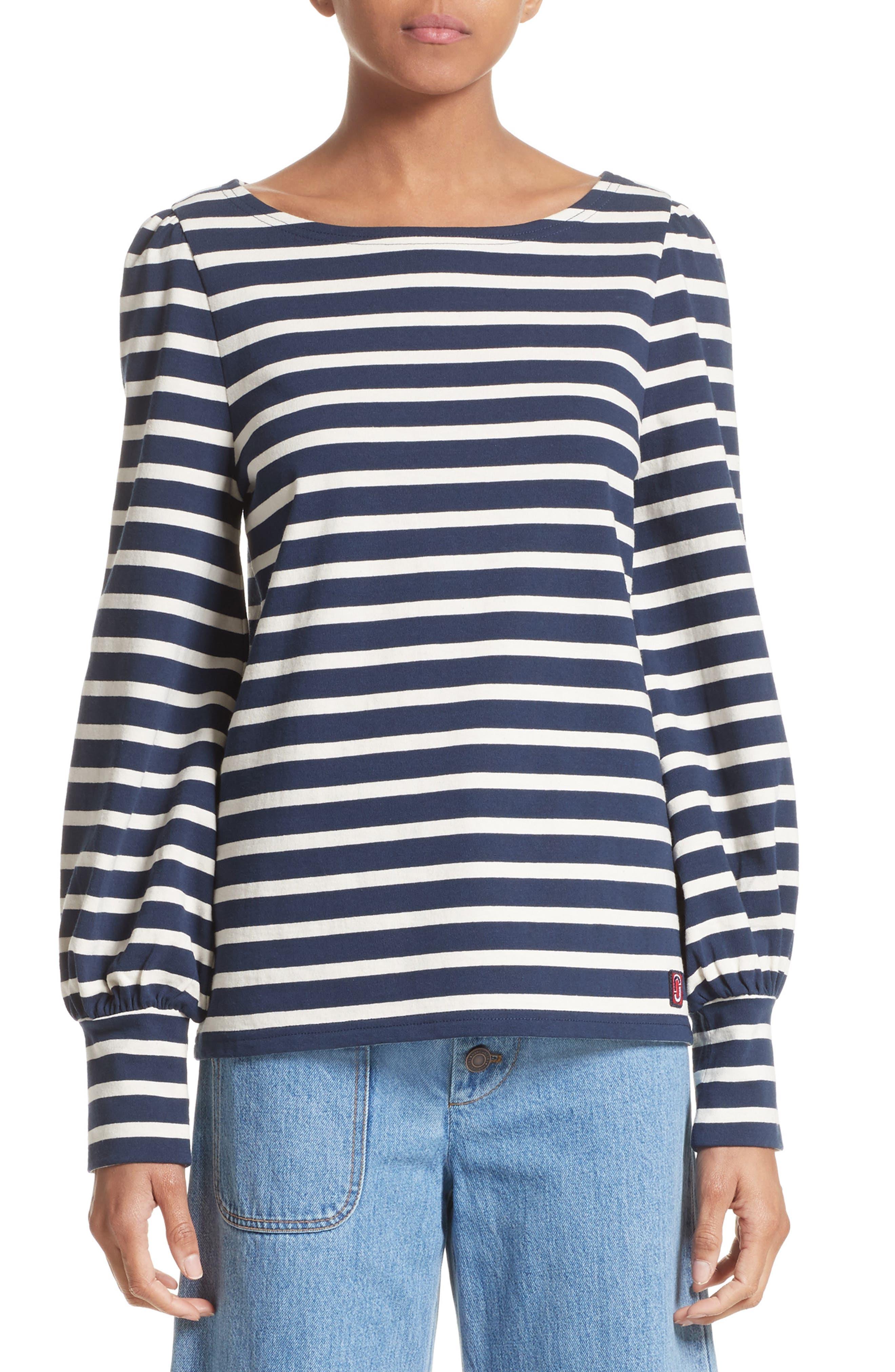 Reverse Breton Stripe Bell Sleeve Top,                         Main,                         color,