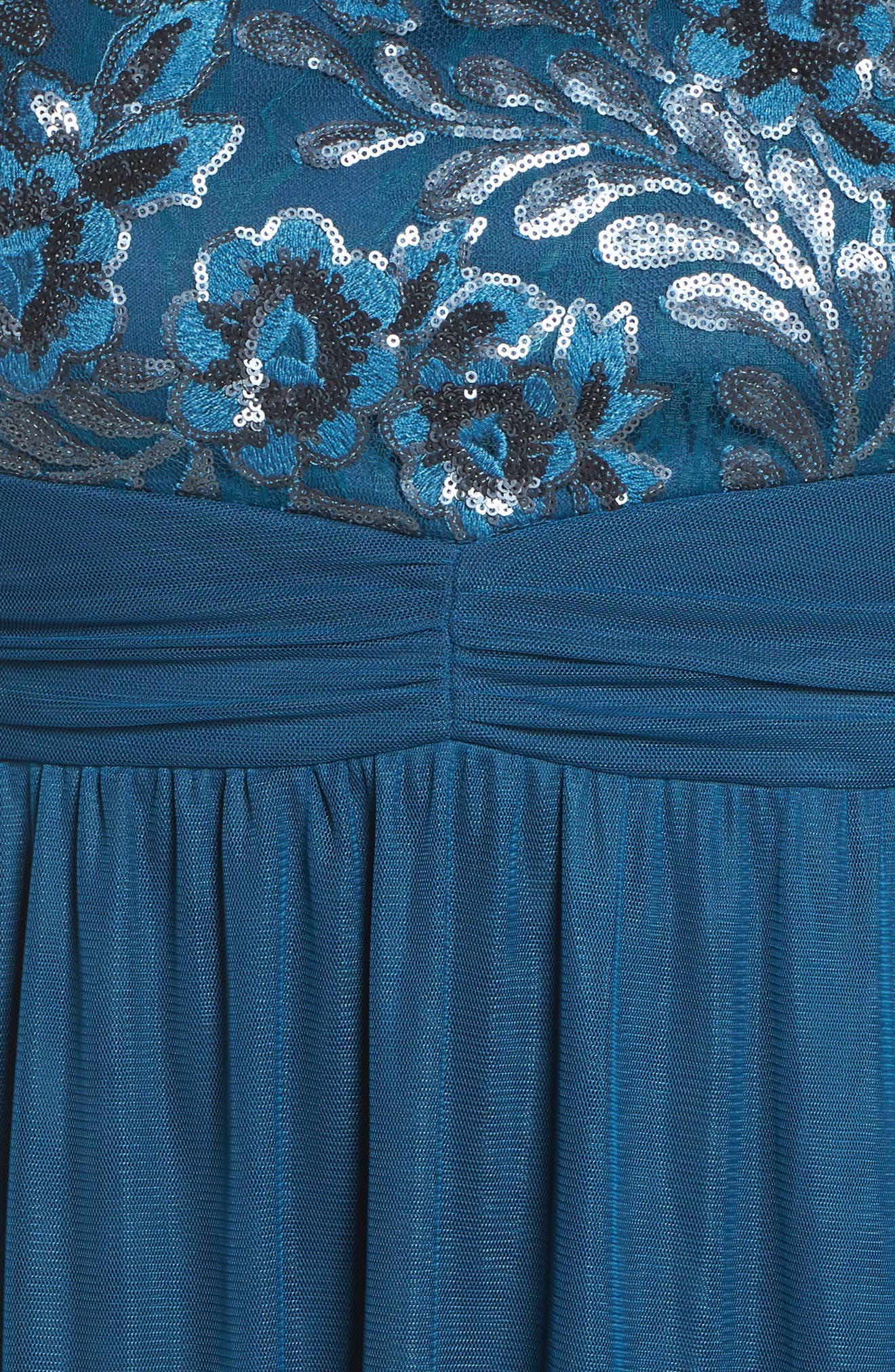 Embellished Cap Sleeve Gown,                             Alternate thumbnail 5, color,                             TEAL