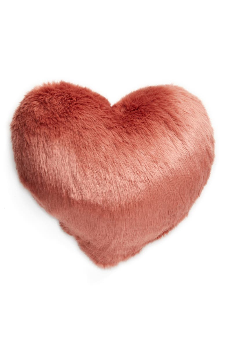 Nordstrom Cuddle Up Faux Fur Heart Accent Pillow