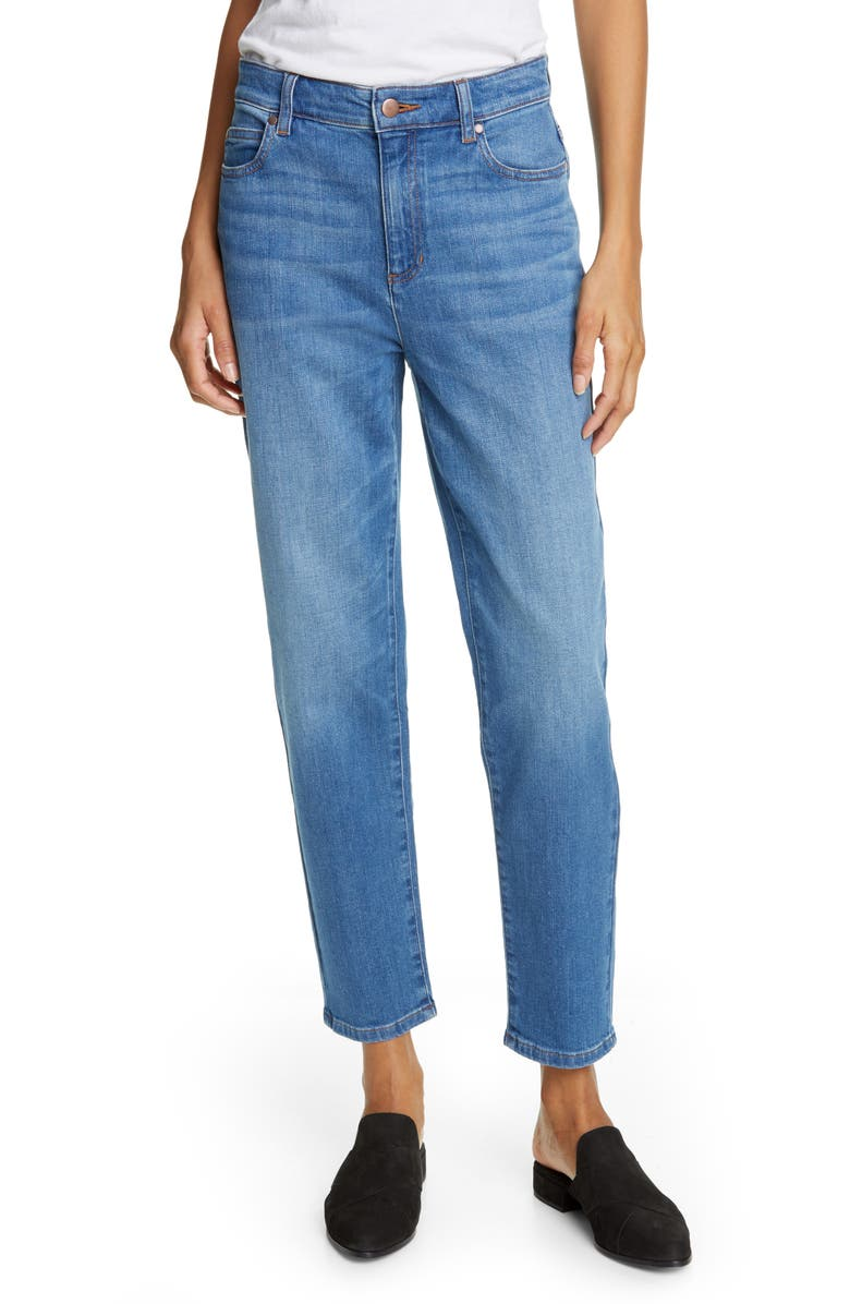 EILEEN FISHER High Waist Tapered Ankle Jeans, Main, color, SOLAR BLUE