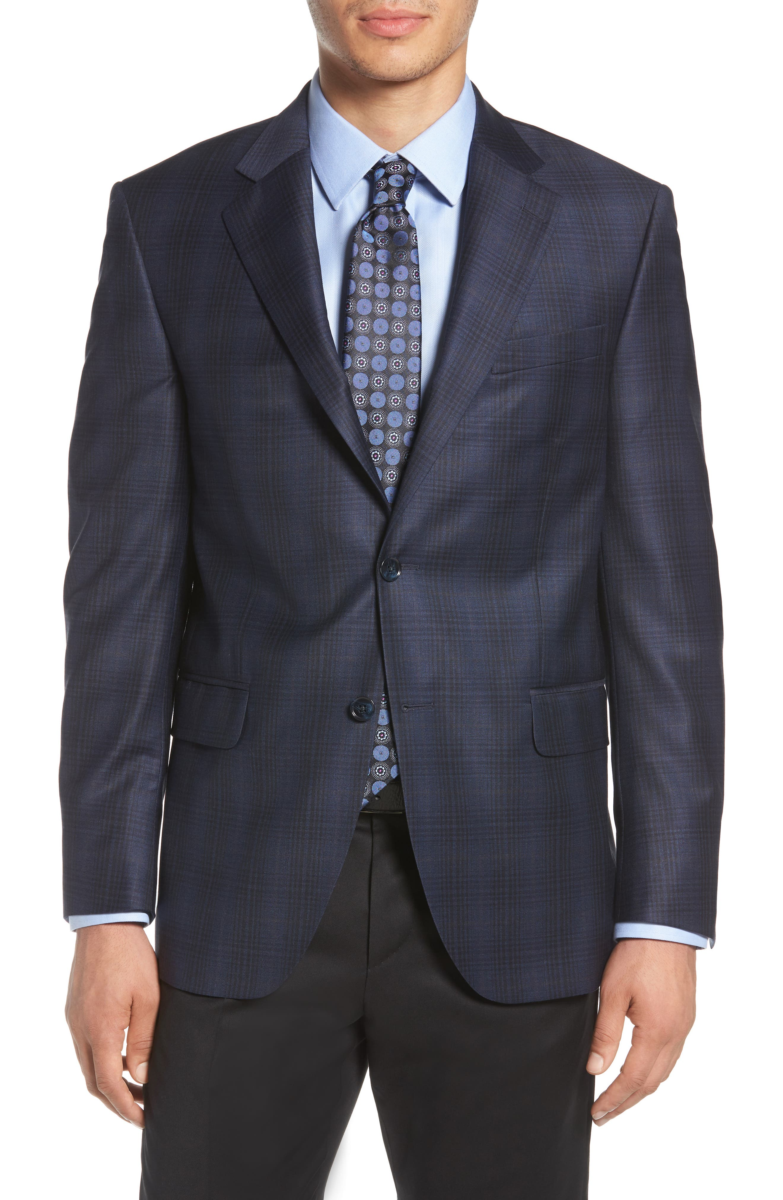 Classic Fit Plaid Wool Sport Coat,                             Main thumbnail 1, color,                             400