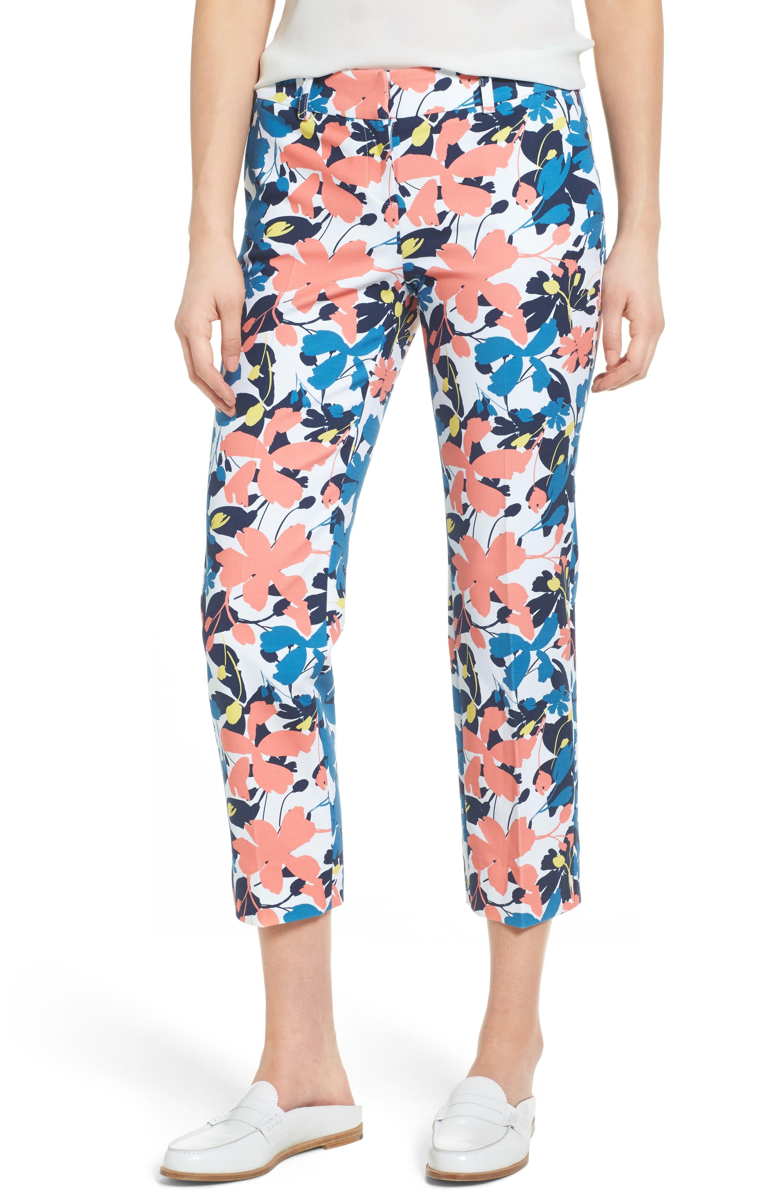 Crop Stretch Cotton Pants,                             Main thumbnail 8, color,