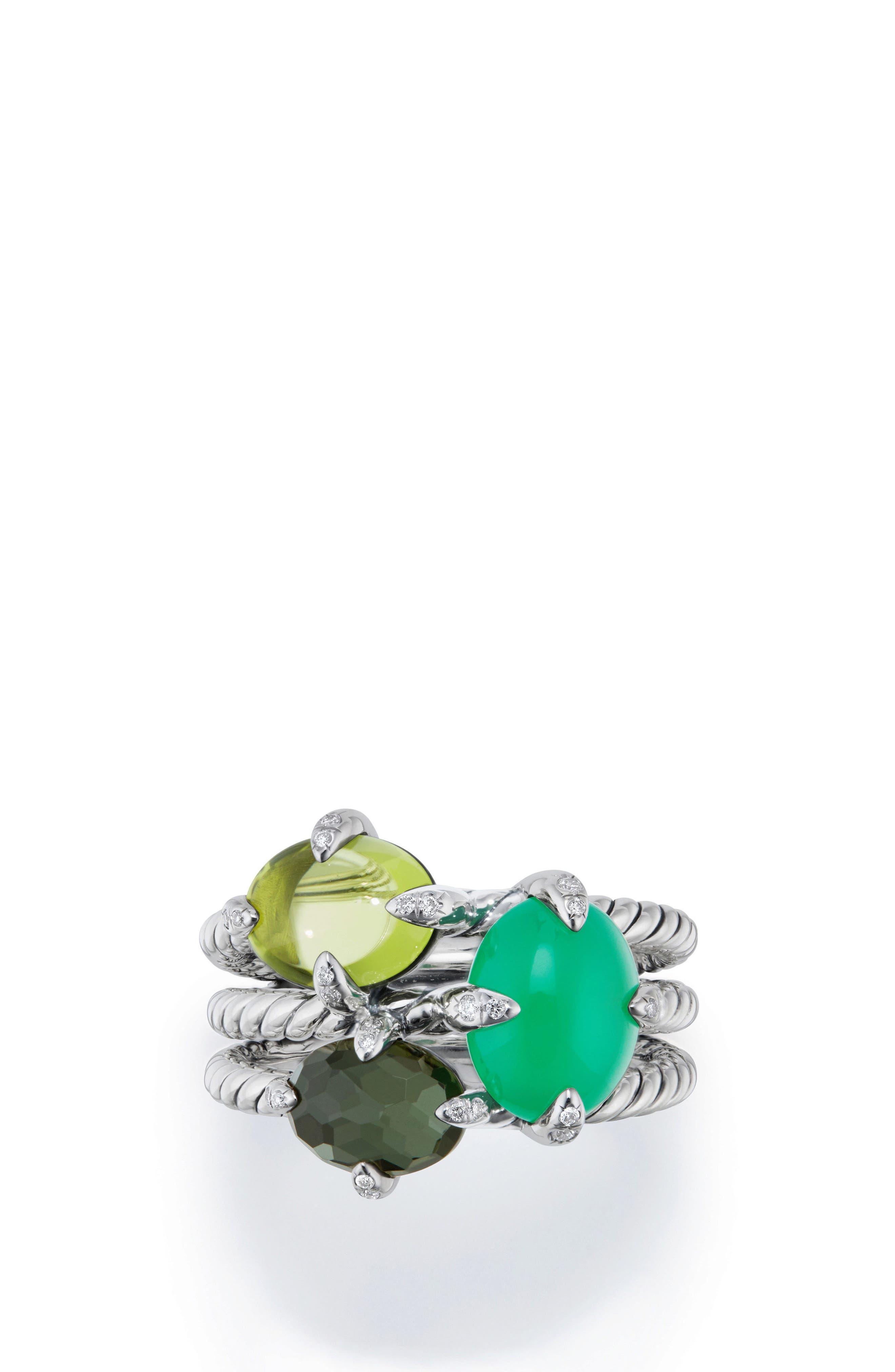 Chatelaine<sup>®</sup> Three-Gemstone Diamond Ring,                             Main thumbnail 1, color,                             SILVER/ DIAMOND/ CHRYSOPRASE