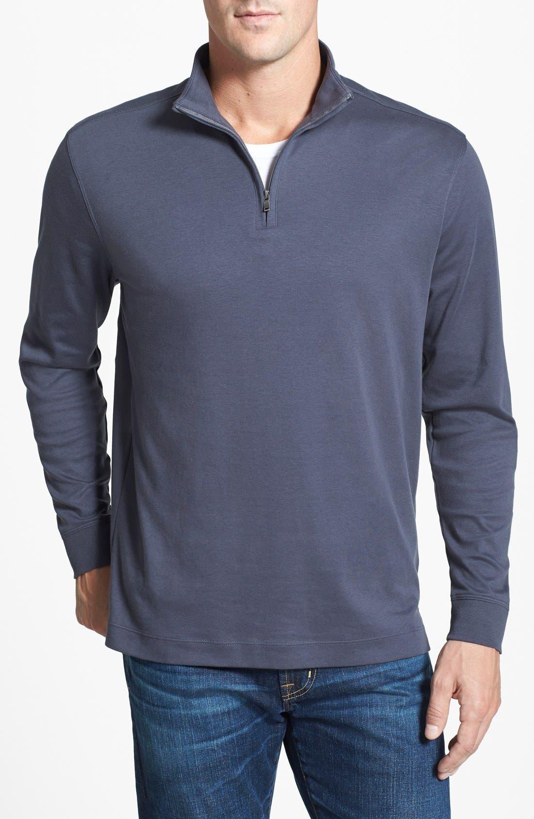 'Belfair' Quarter Zip Pima Cotton Pullover,                         Main,                         color, 051