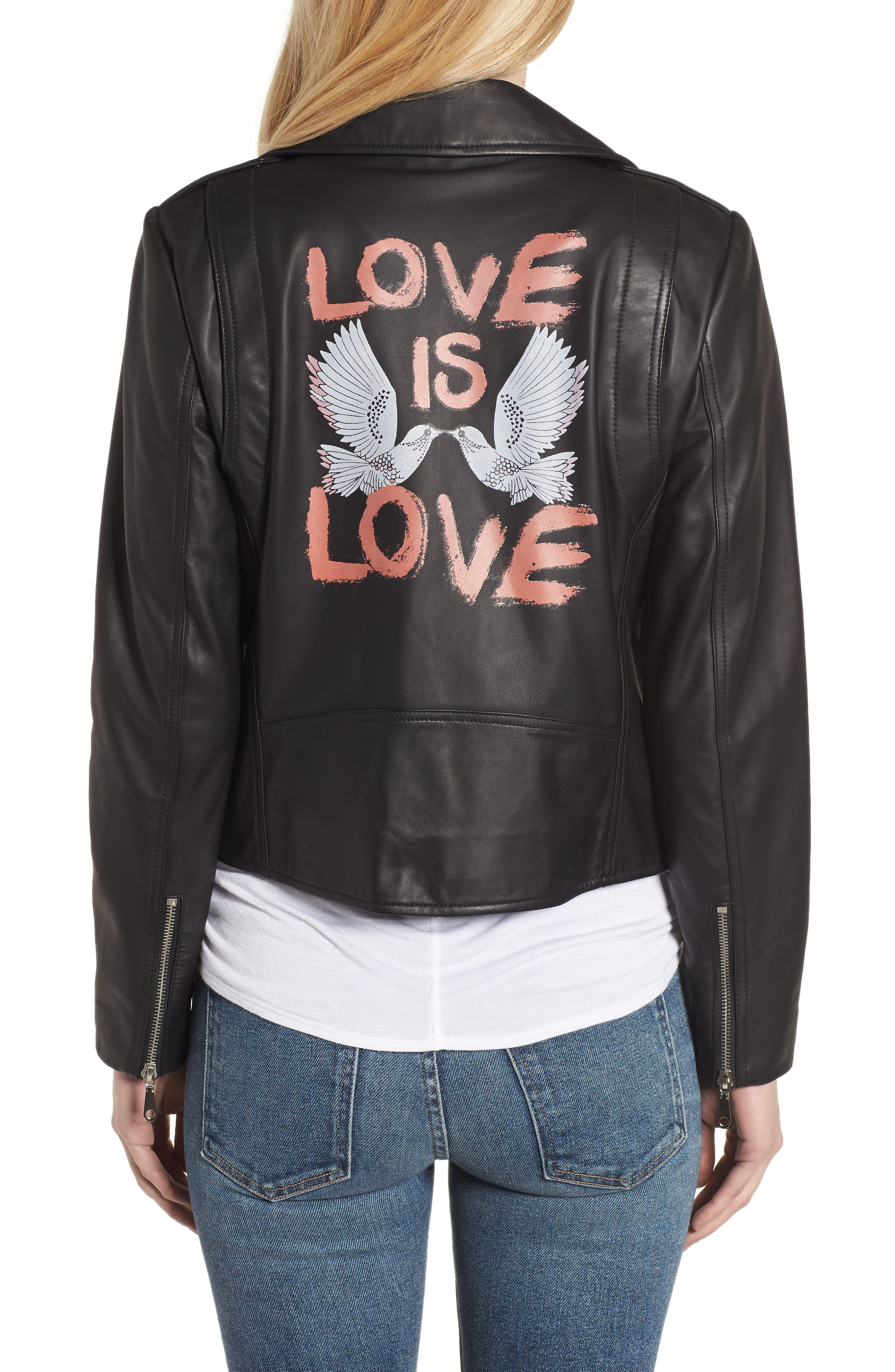 Wes Leather Moto Jacket,                             Alternate thumbnail 2, color,                             002