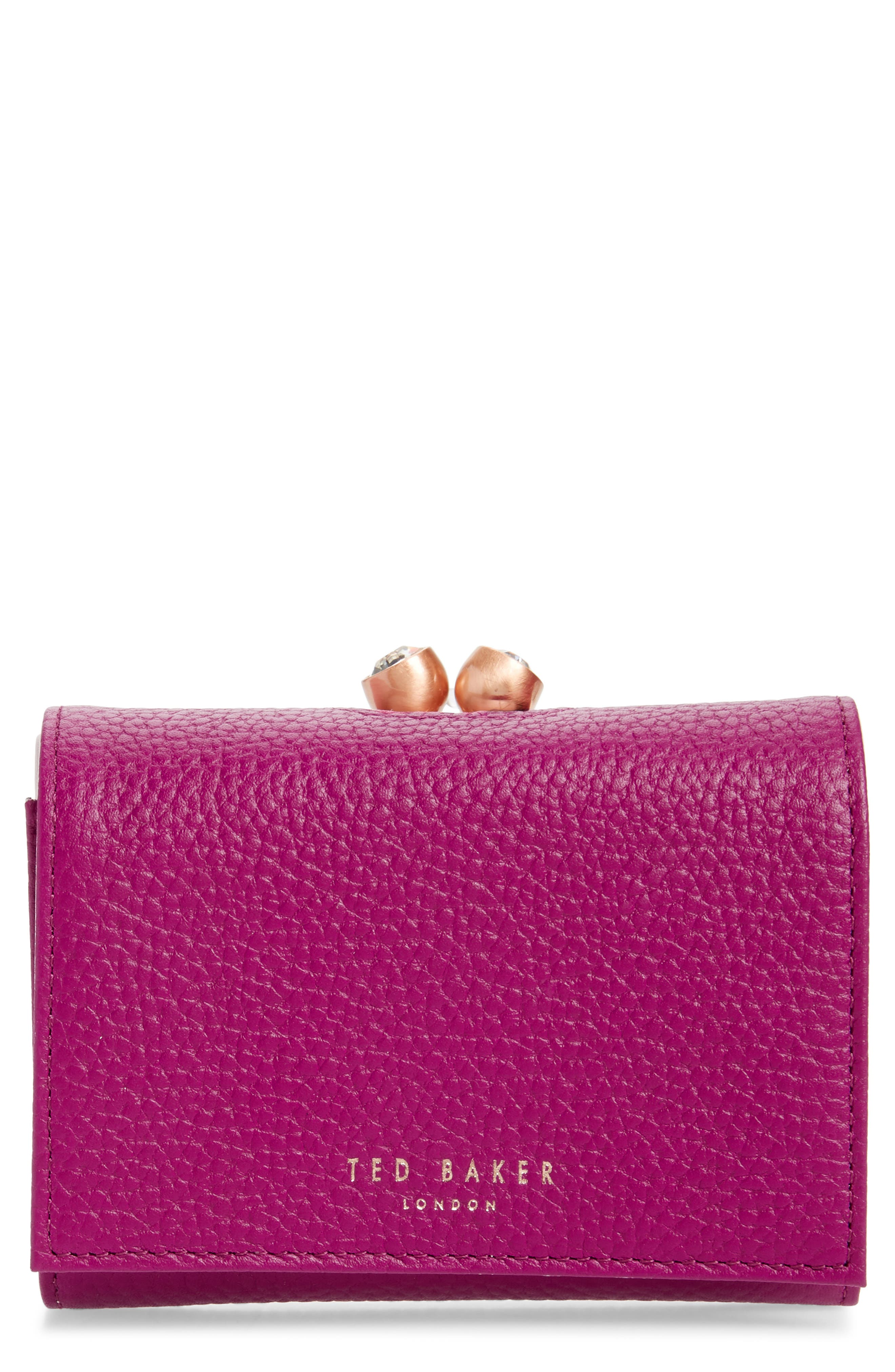 Valery Metallic Leather Bobble Wallet,                             Main thumbnail 1, color,                             BRIGHT PINK