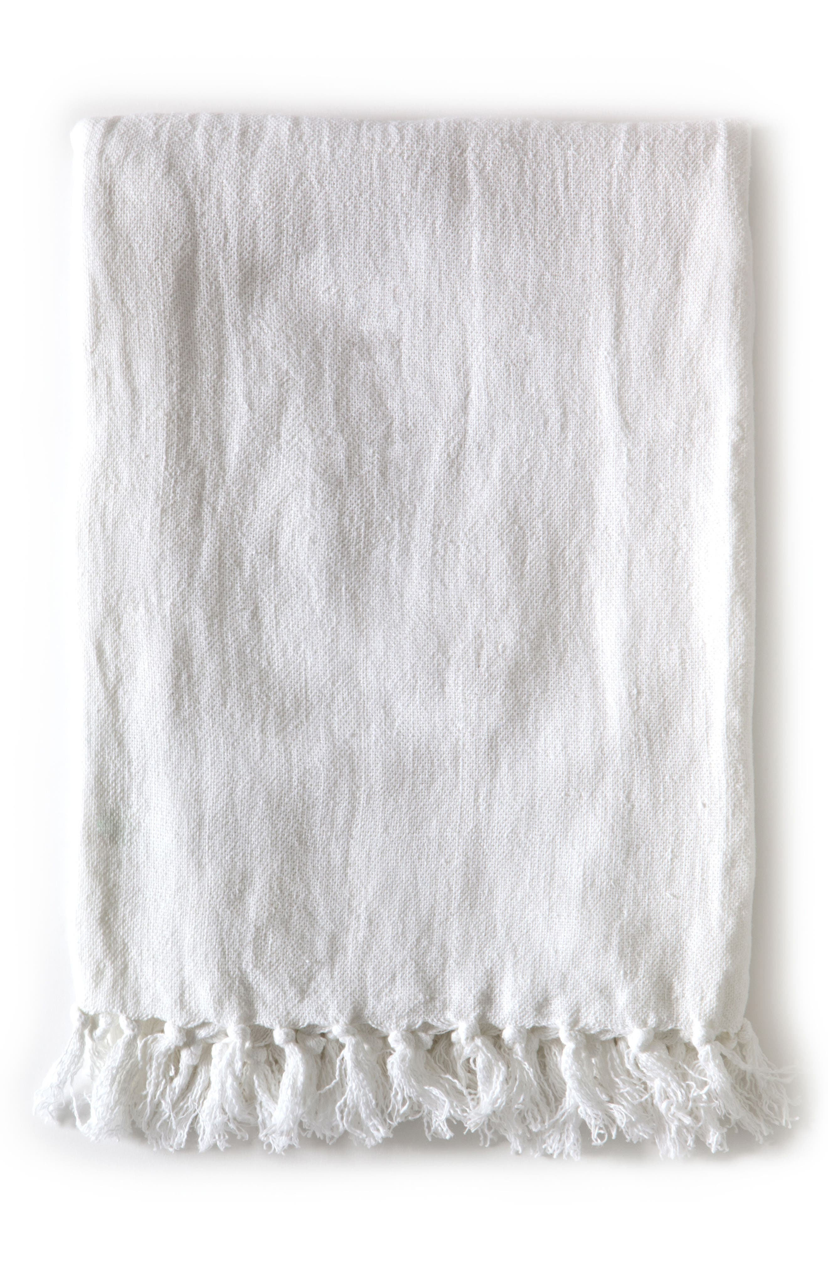 Montauk Throw Blanket, Main, color, WHITE