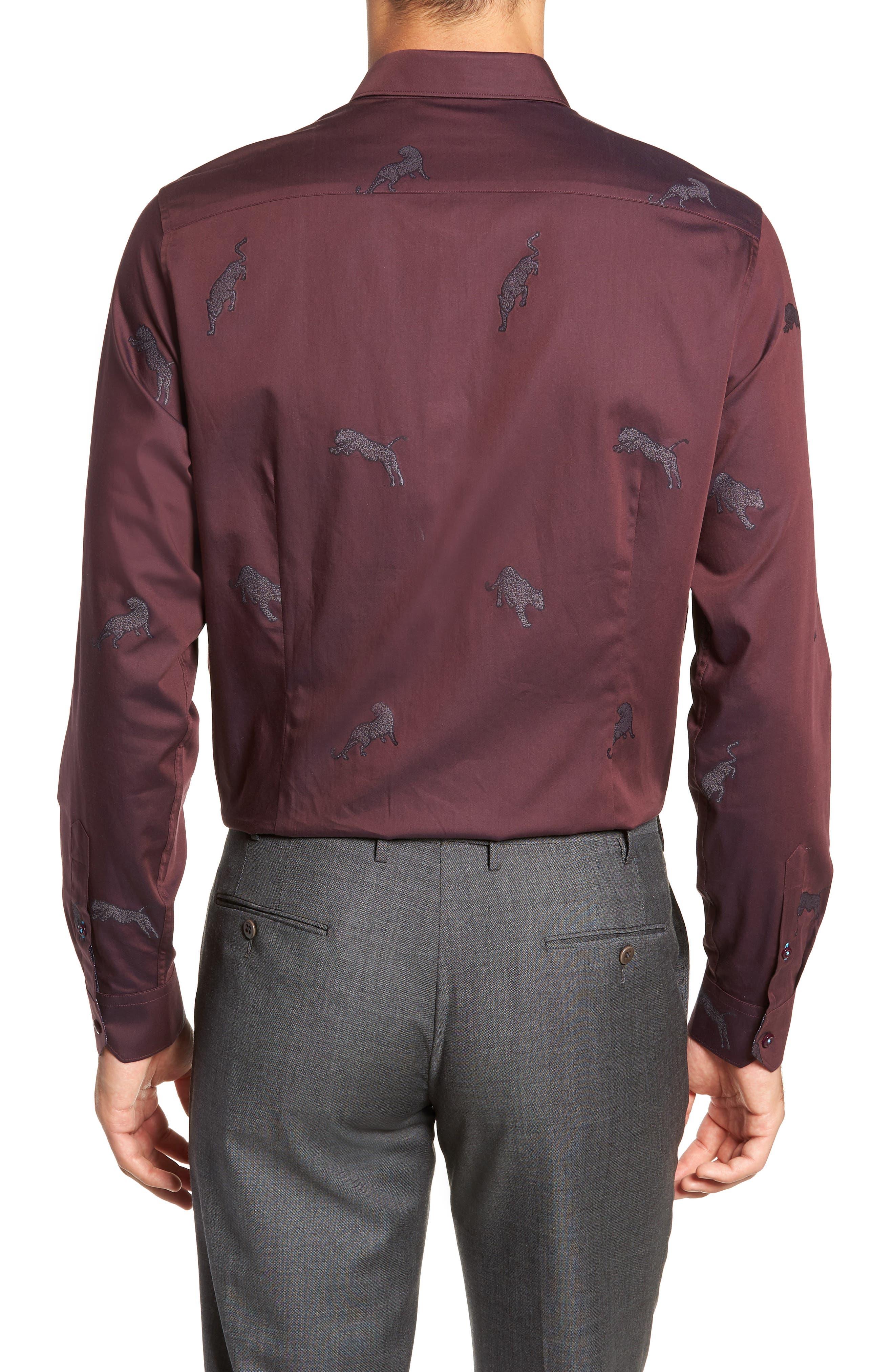 Bean Modern Fit Print Dress Shirt,                             Alternate thumbnail 3, color,                             DARK RED