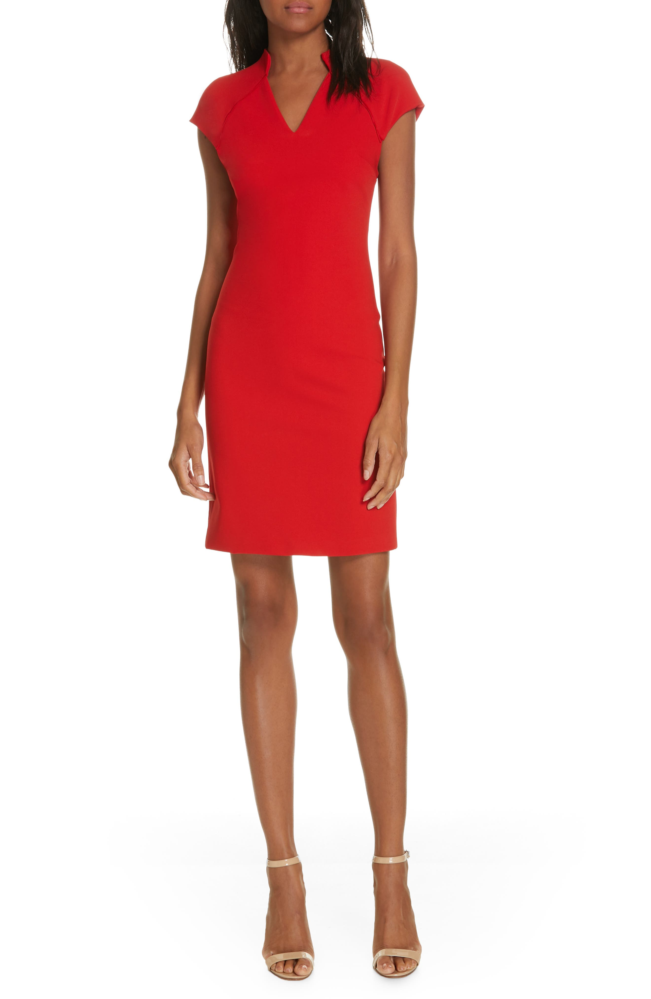 Alice + Olivia Latisha Fitted Dress, Red