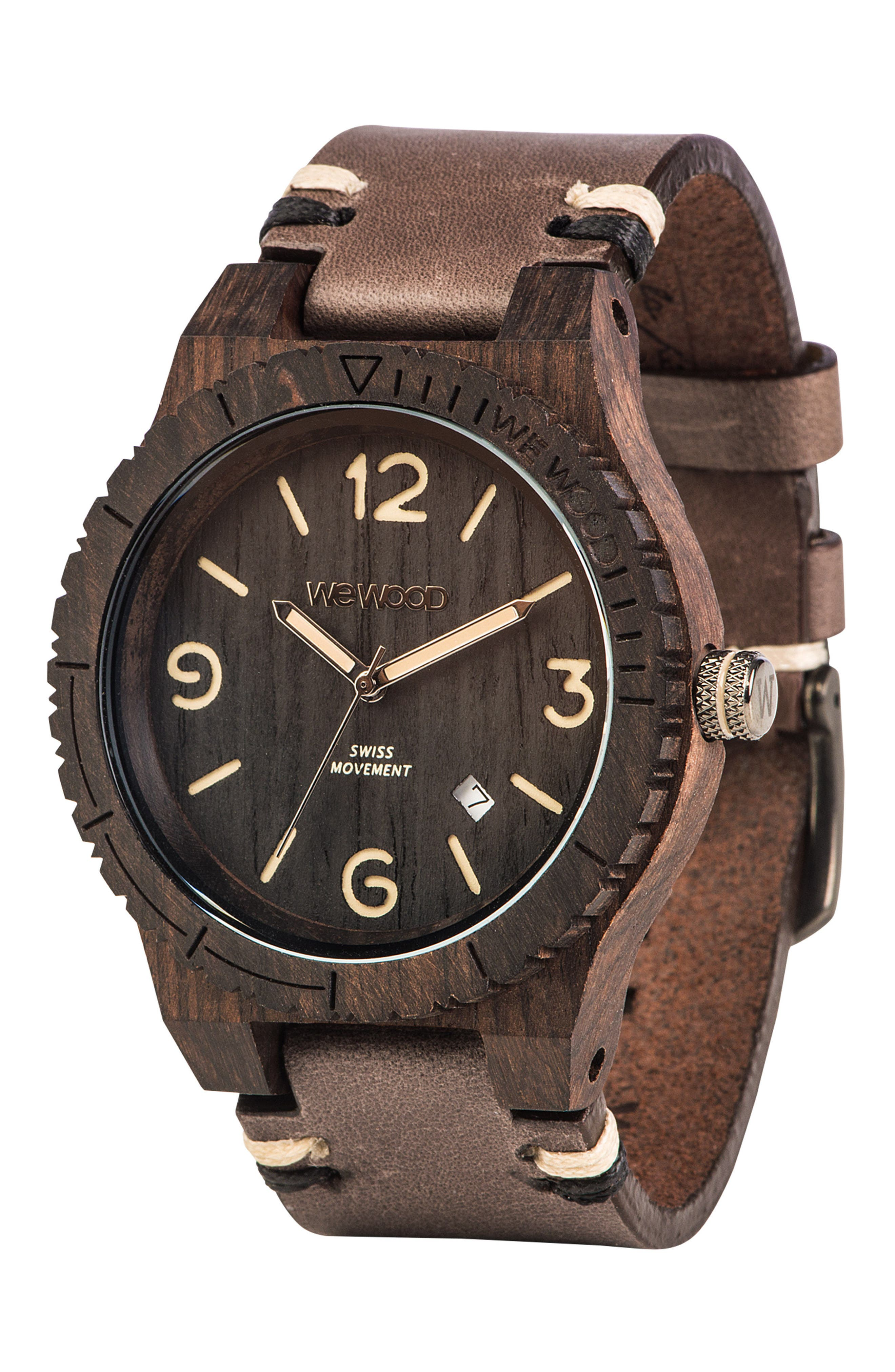 Alpha Wood Leather Strap Watch, 46mm,                             Alternate thumbnail 3, color,                             200