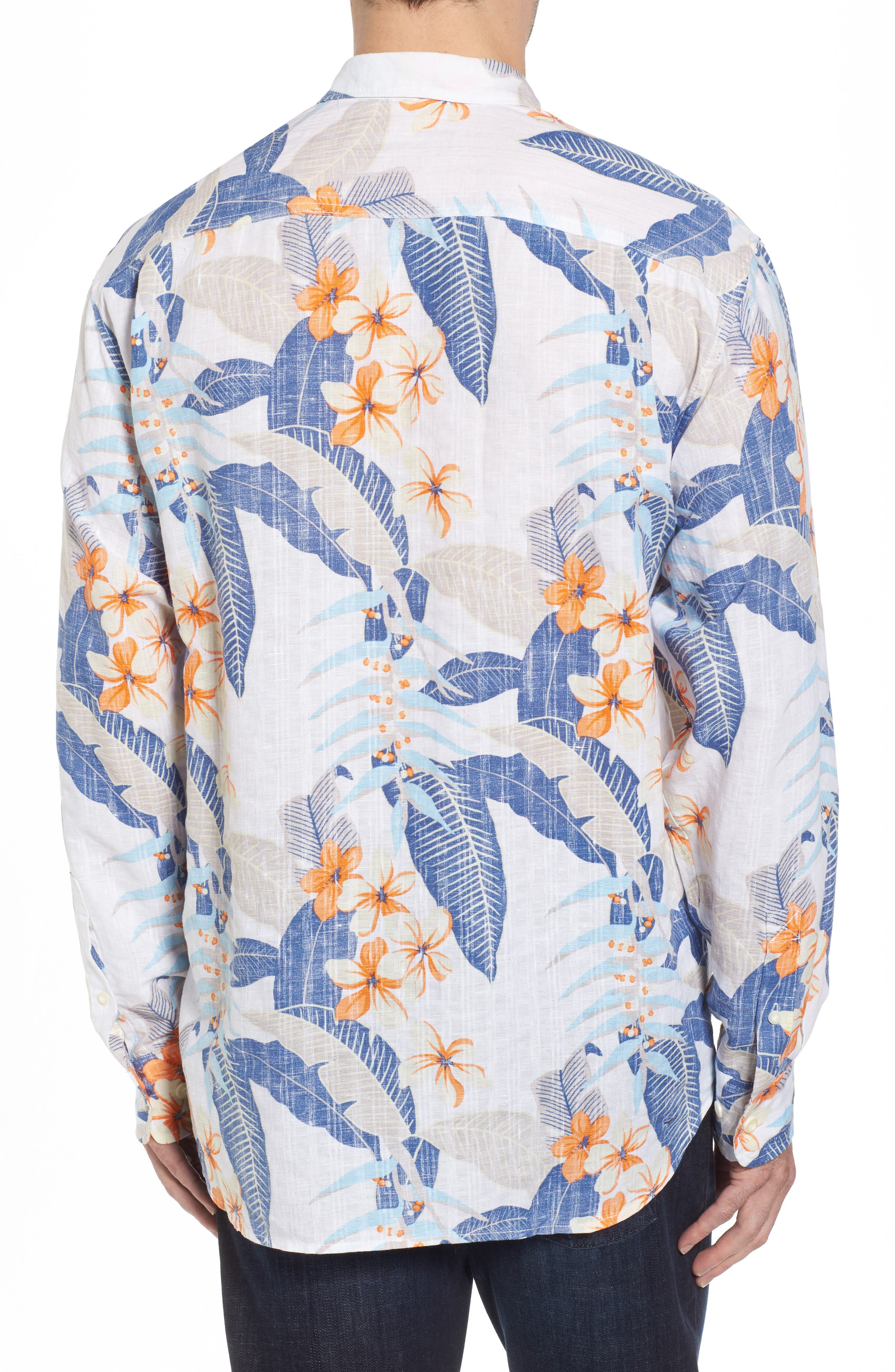 Liviea Leaves Linen Blend Camp Shirt,                             Alternate thumbnail 2, color,                             100