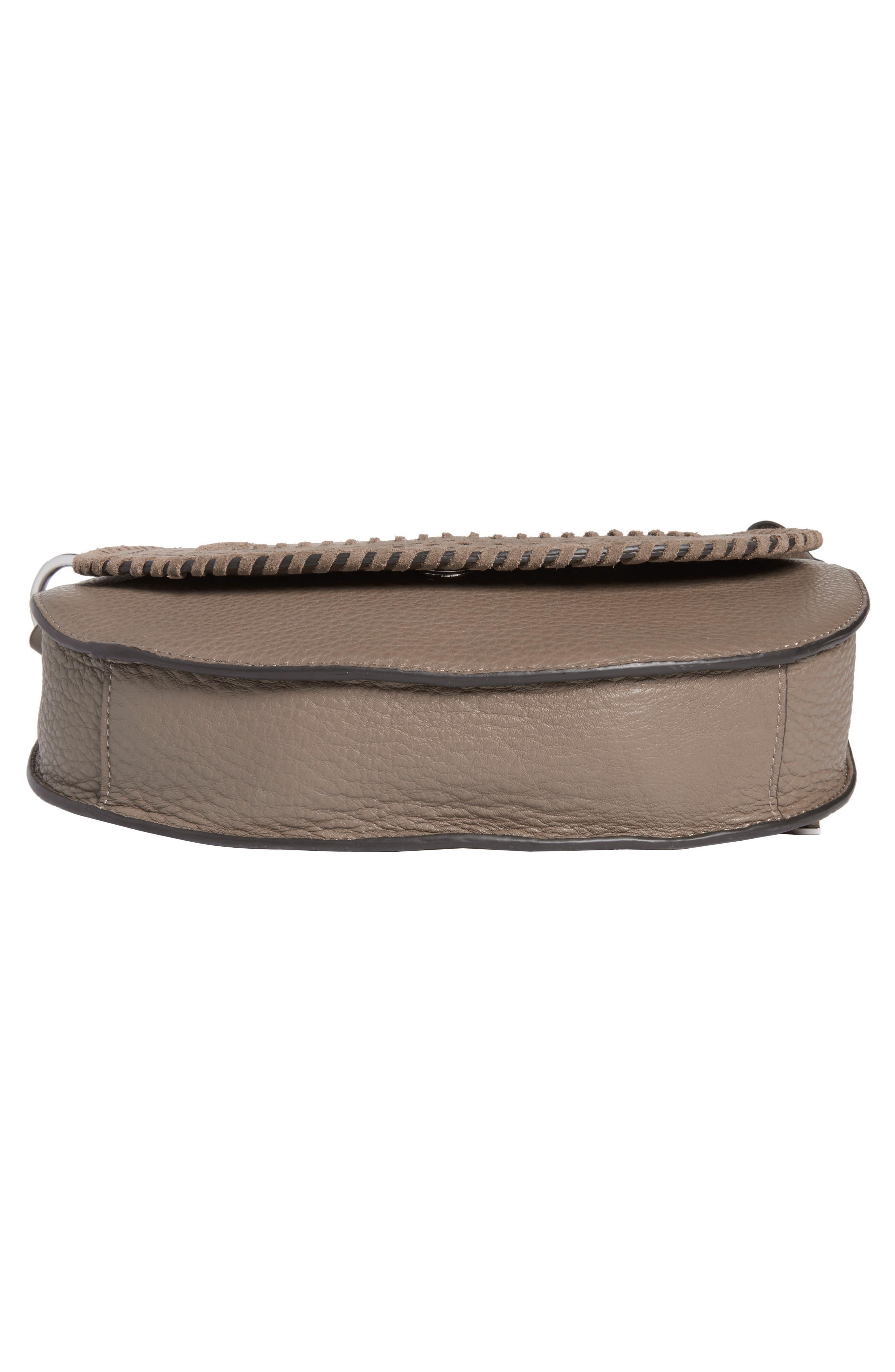Kirie Suede & Leather Crossbody Saddle Bag,                             Alternate thumbnail 6, color,                             020