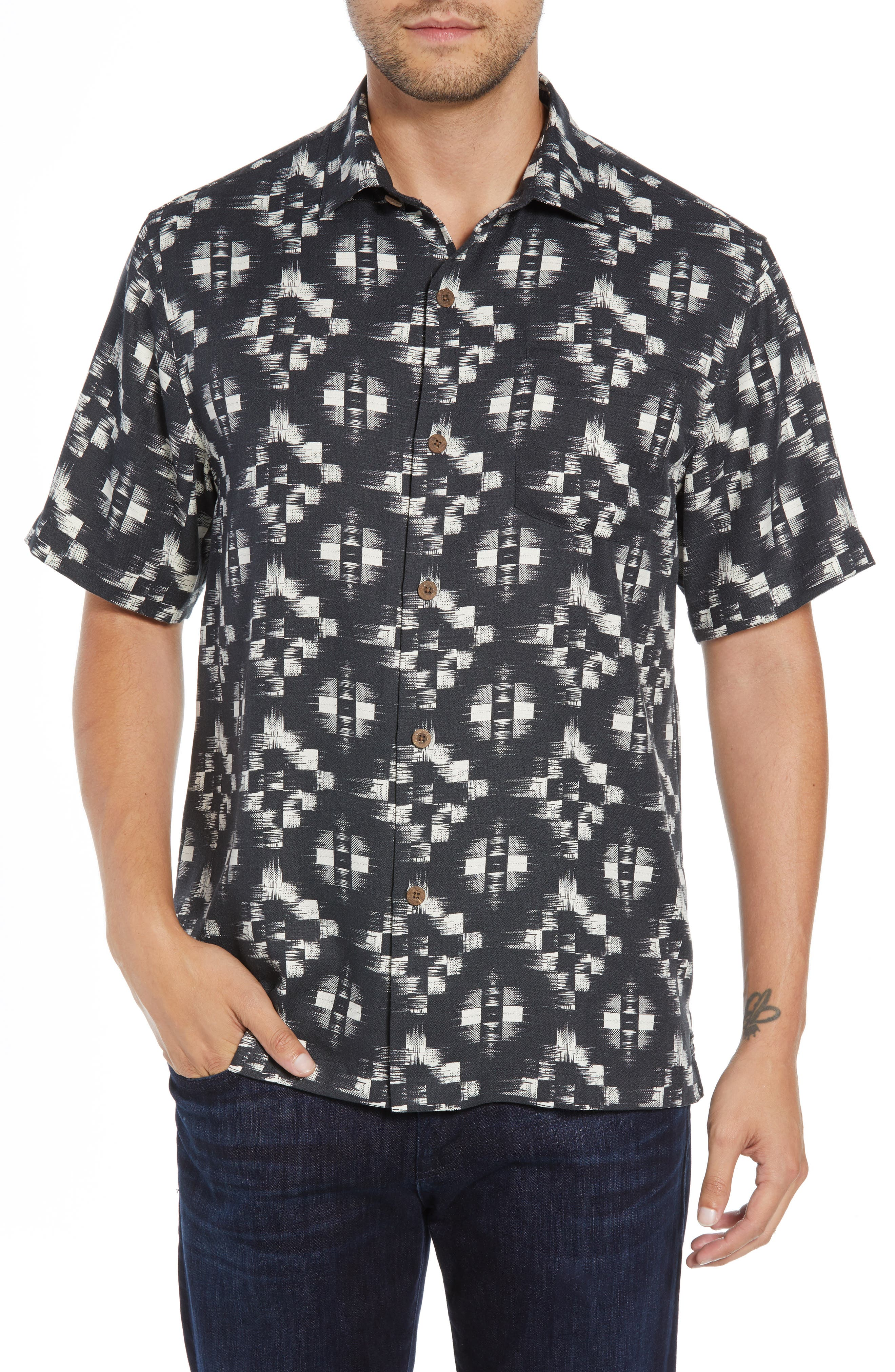 Mazatlan Geo Print Sport Shirt,                         Main,                         color, 001