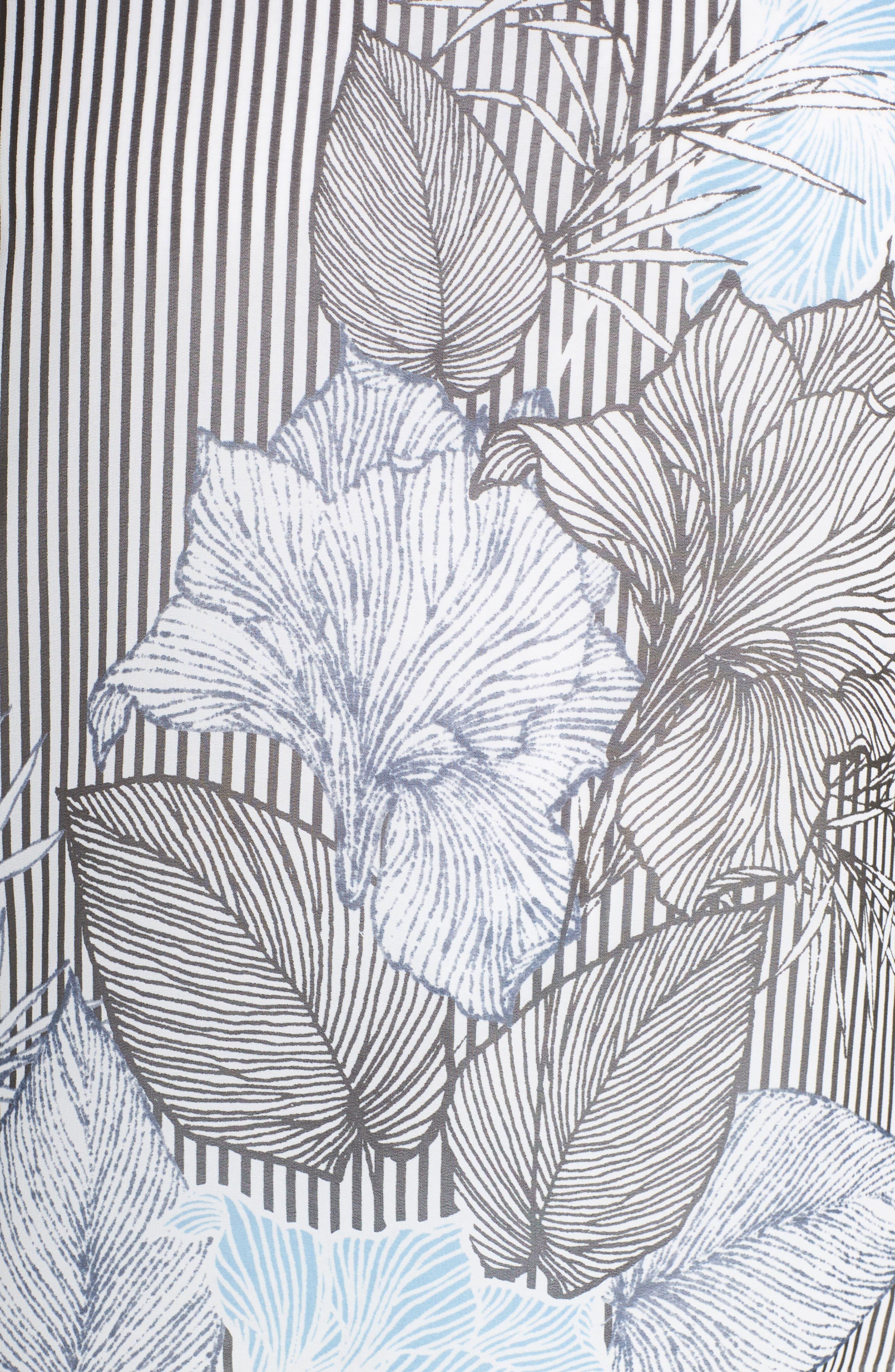 VINCE CAMUTO,                             Flutter Sleeve Etched Floral Stripe Top,                             Alternate thumbnail 6, color,                             010