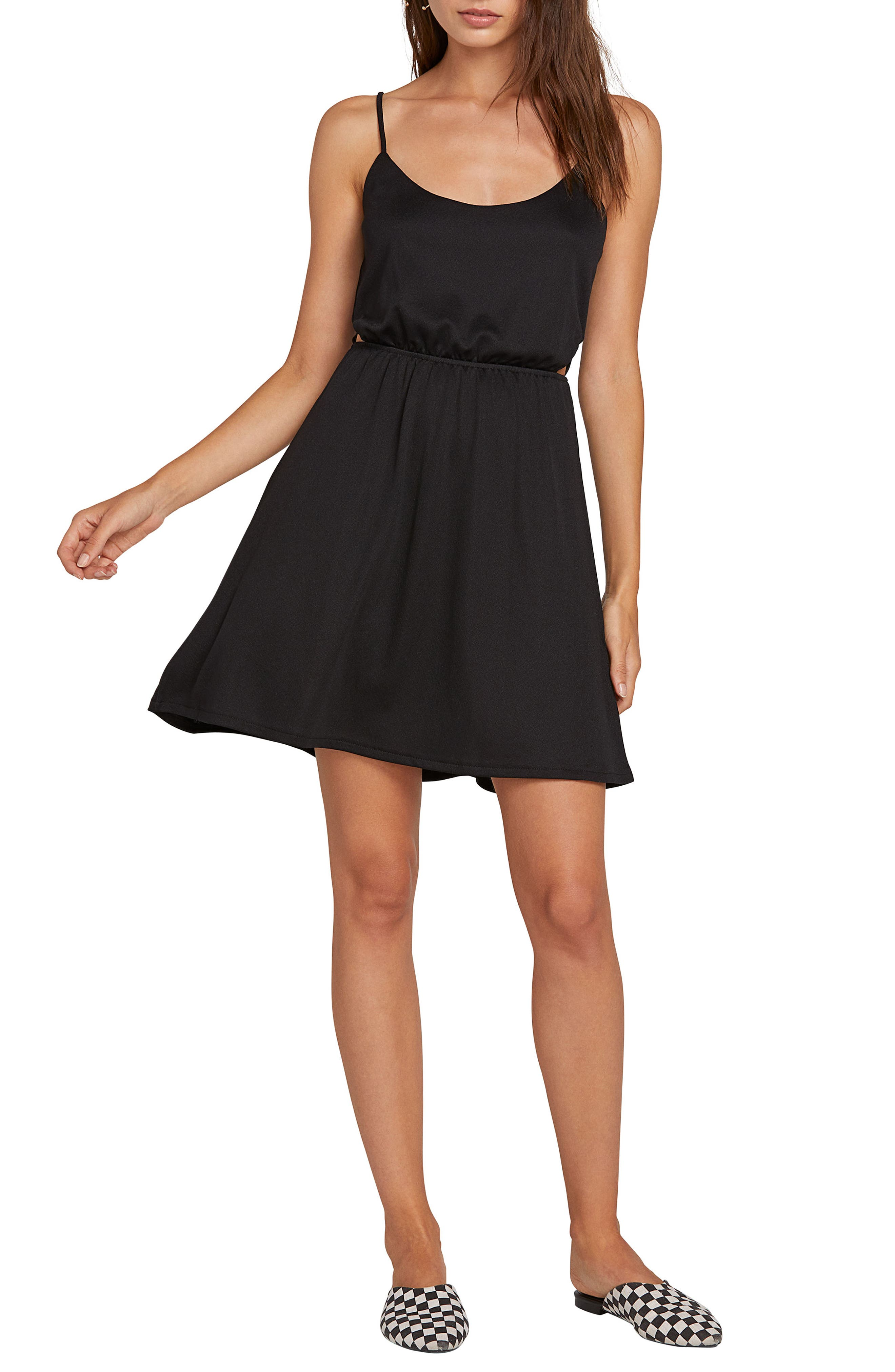 Plus Size Volcom Le Fresh Waist Cutout Minidress, Black