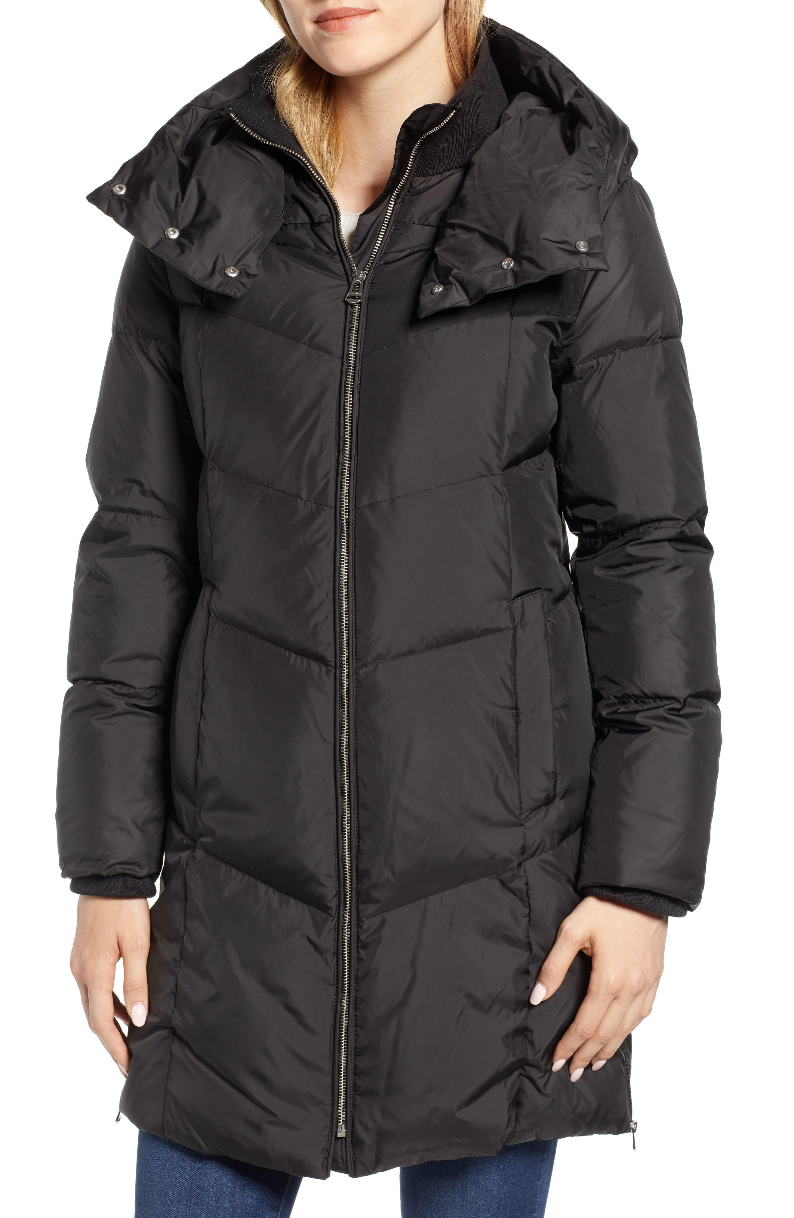 Essential Puffer Coat,                             Alternate thumbnail 4, color,                             BLACK