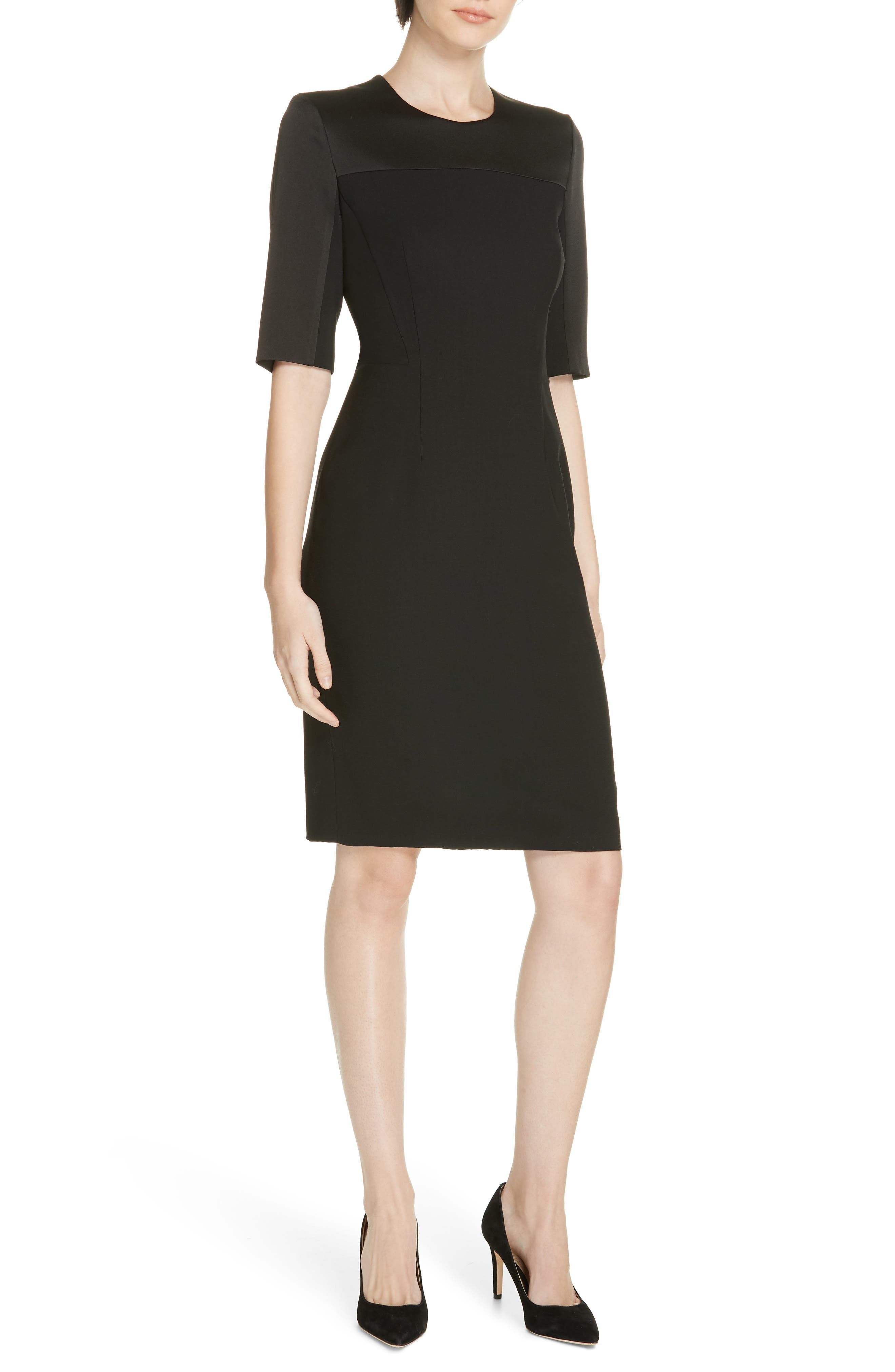 Boss Danufa Stretch Wool Sheath Dress, Size Black