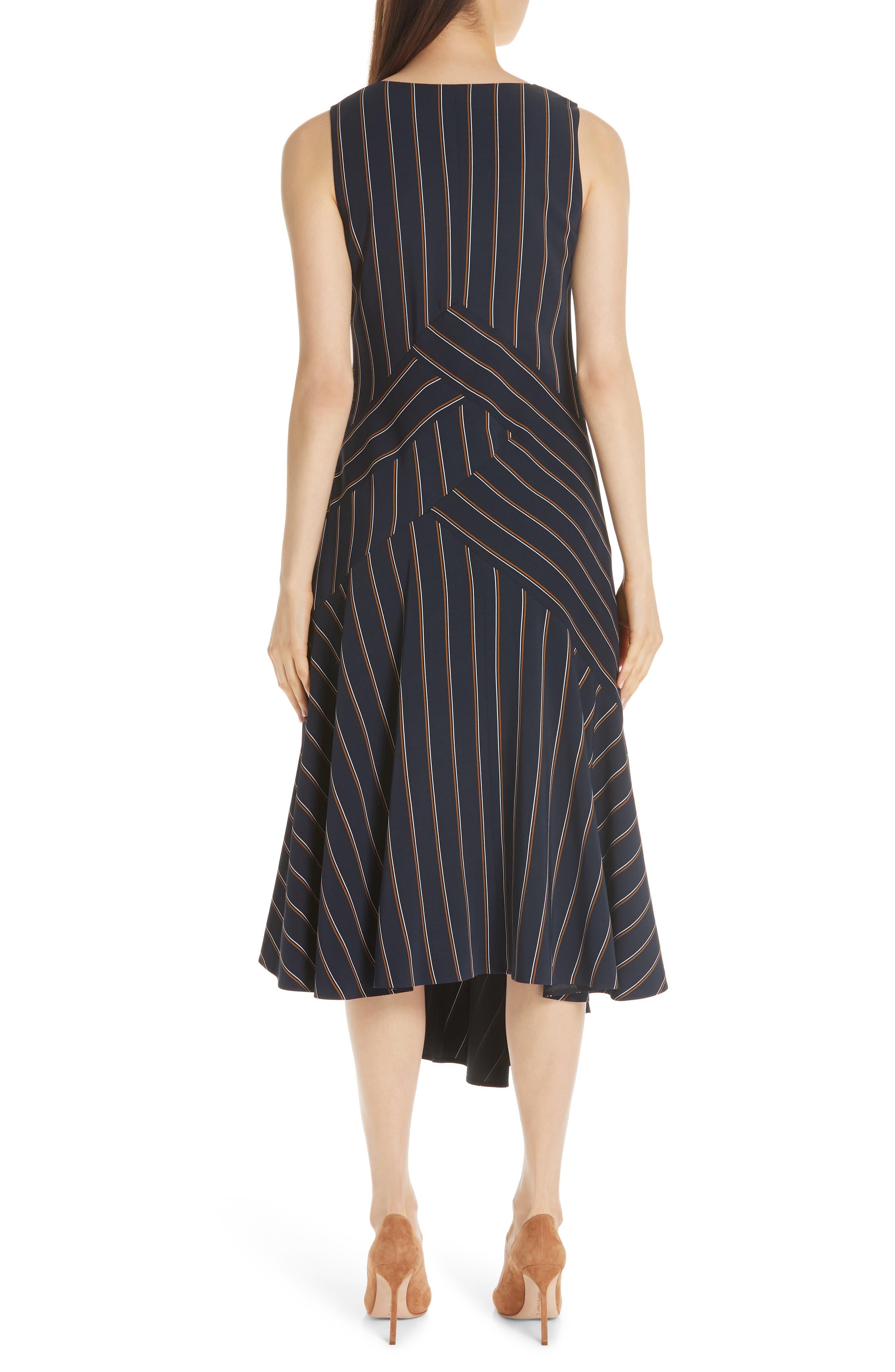 Ashlena Asymmetrical Stripe Dress,                             Alternate thumbnail 2, color,                             INK MULTI