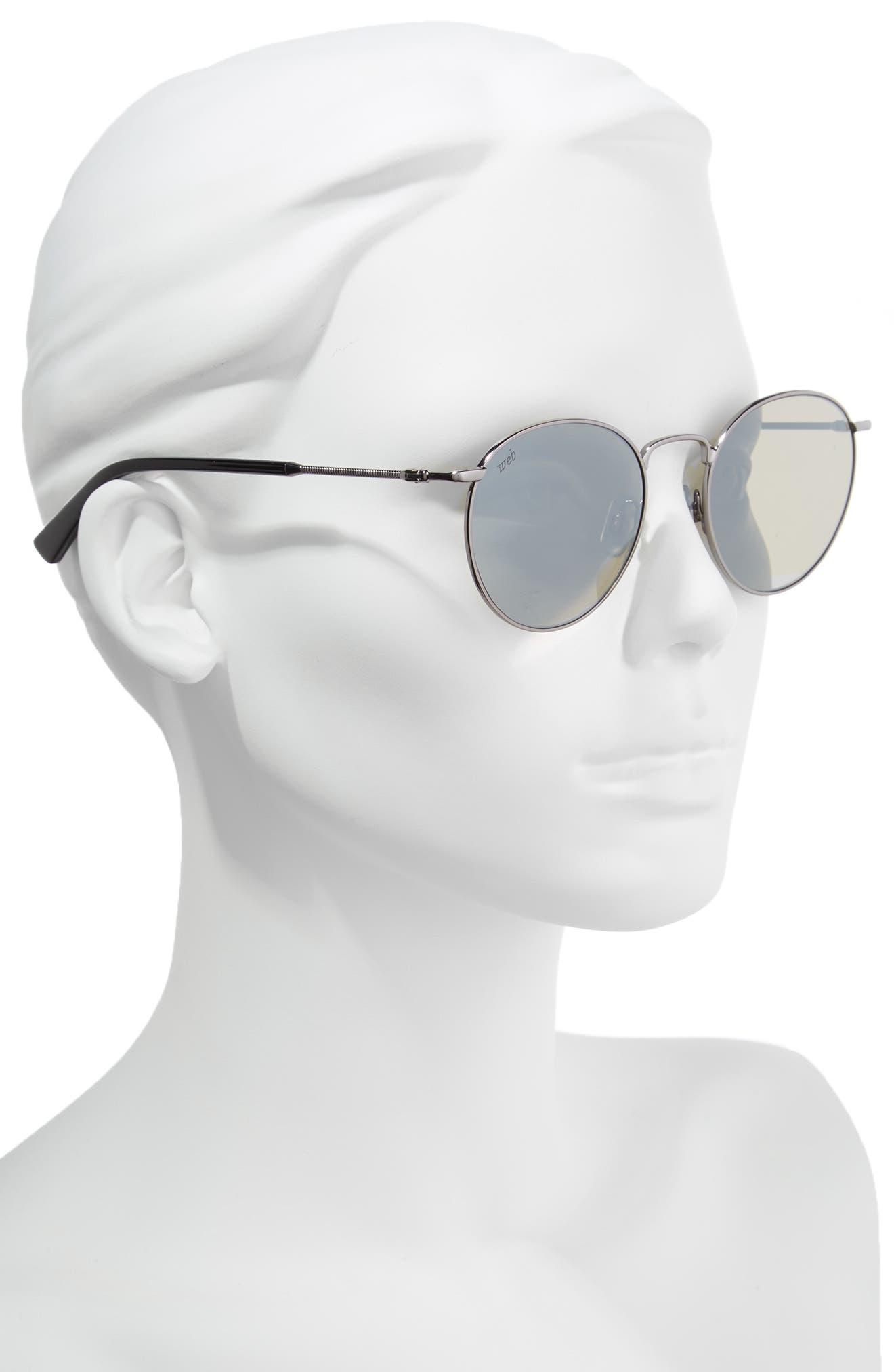 51mm Round Metal Sunglasses,                             Alternate thumbnail 2, color,                             SHINY GUNMETAL/ ROVIEX MIRROR