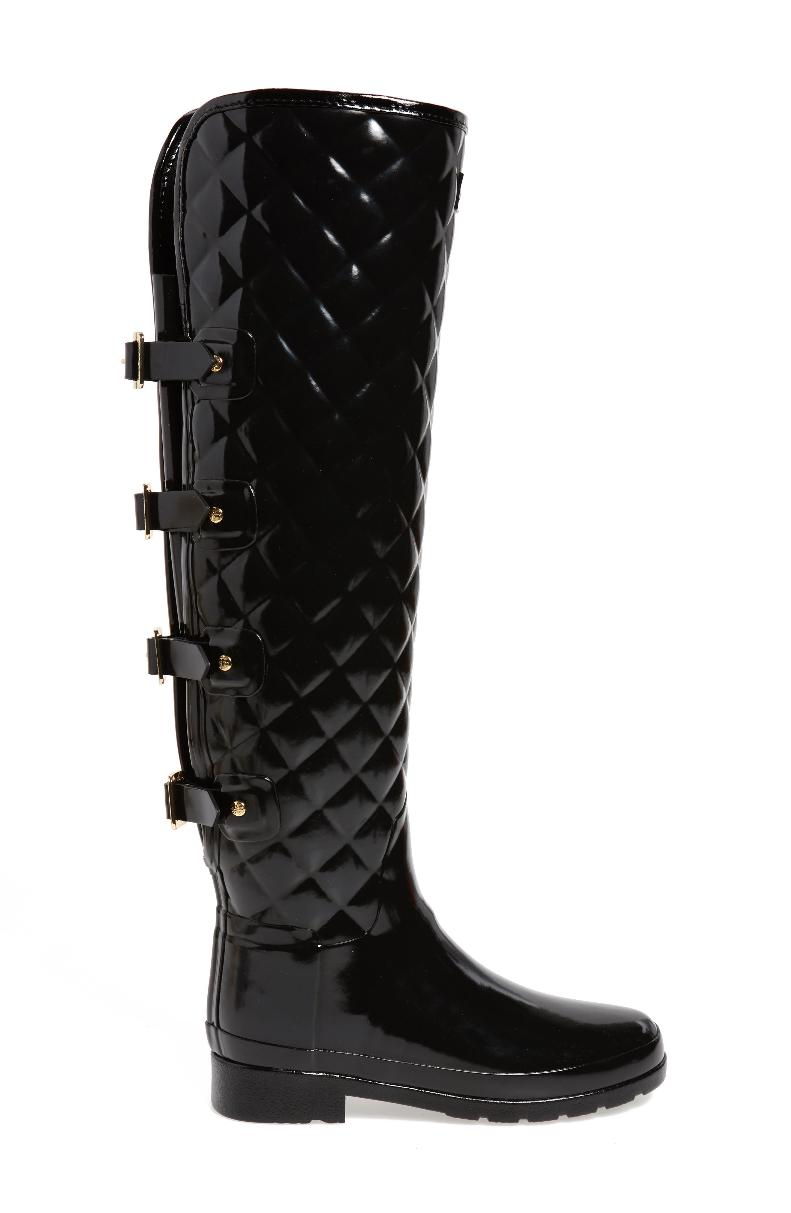 Refined Gloss Quilted Over the Knee Rain Boot,                             Alternate thumbnail 3, color,                             001