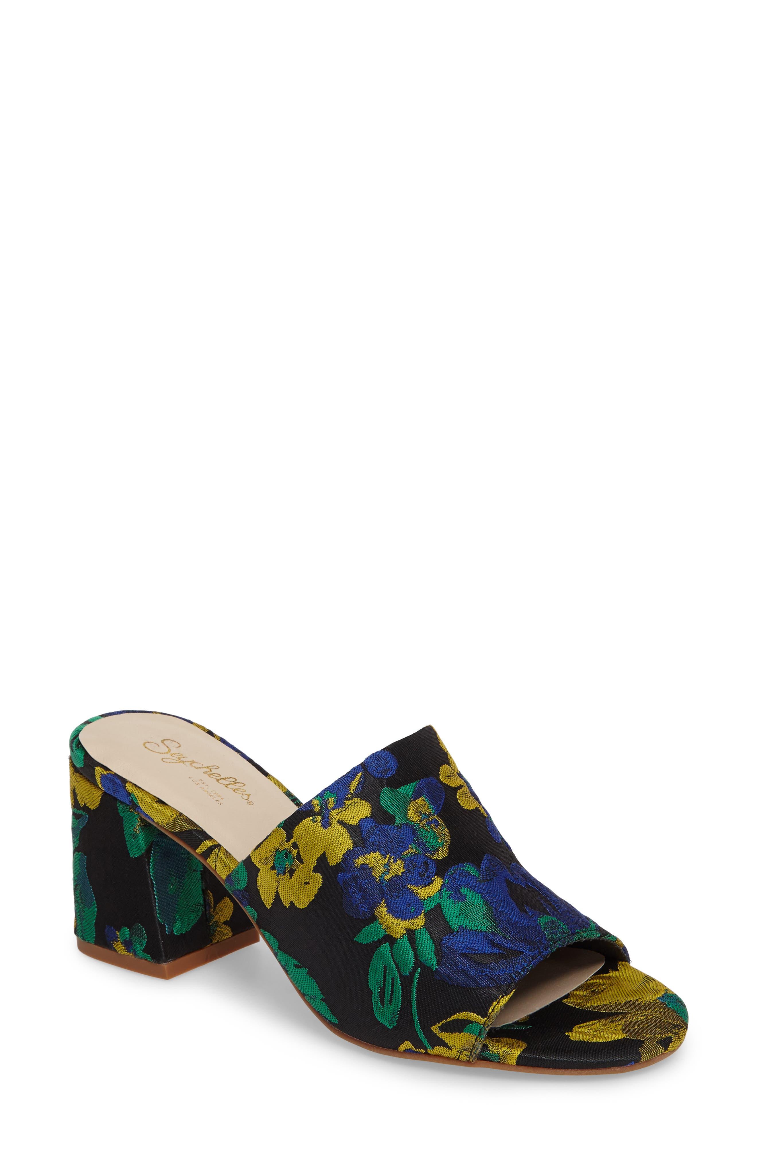 Commute Floral Flared Heel Sandal,                             Main thumbnail 1, color,                             002