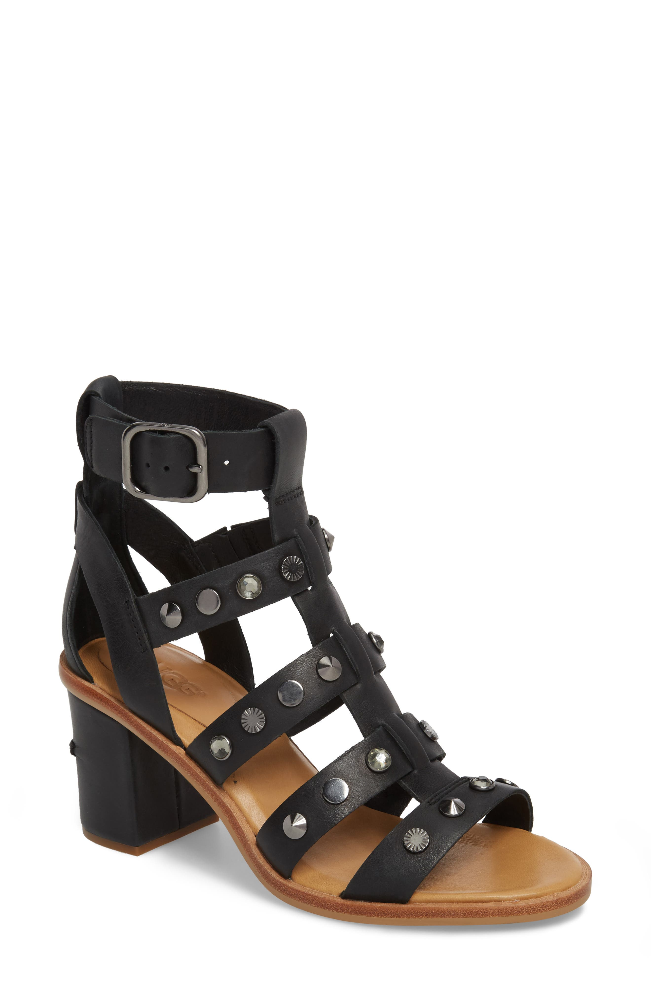 Macayla Studded Sandal,                             Main thumbnail 1, color,                             BLACK LEATHER