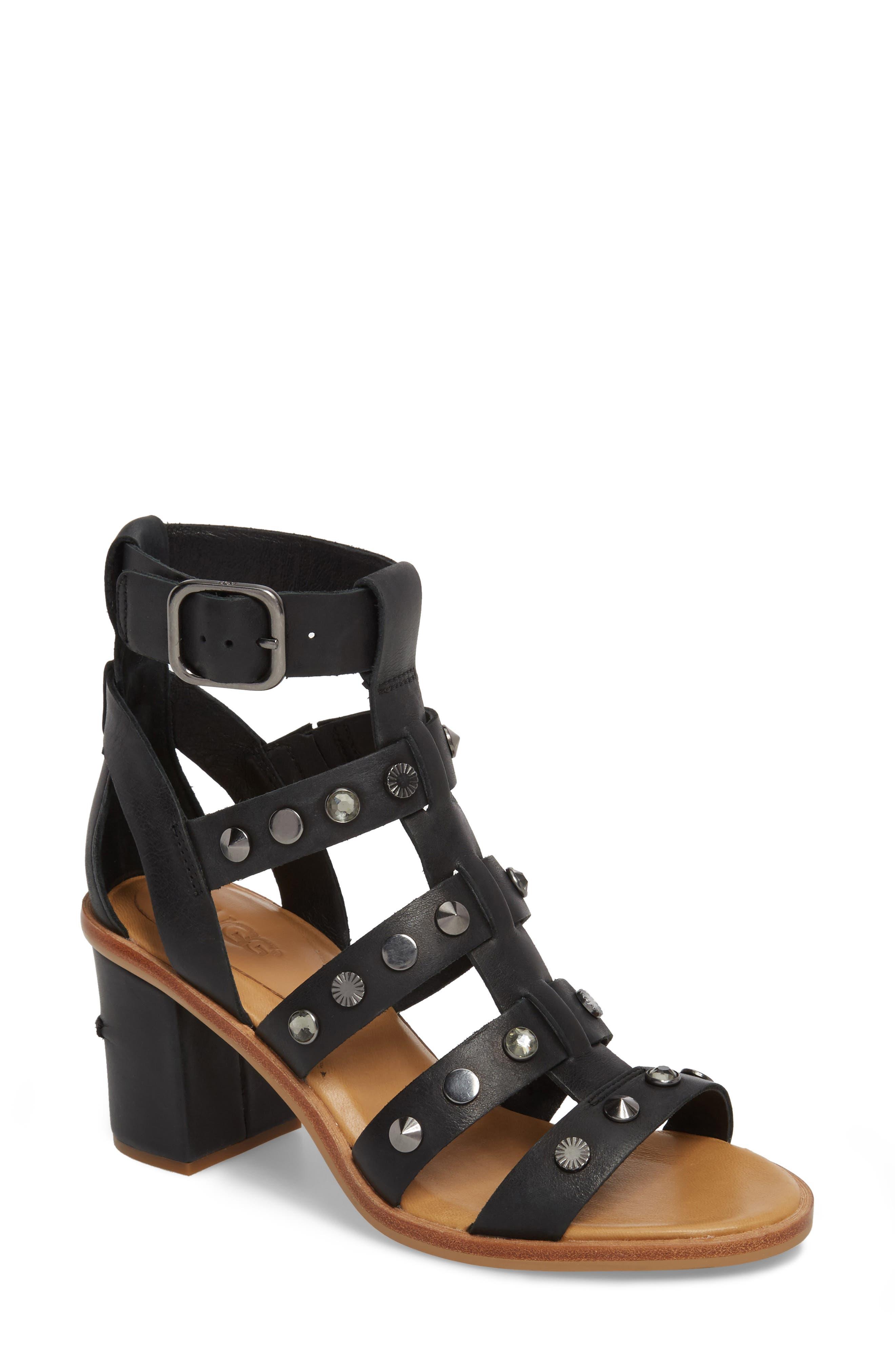 Macayla Studded Sandal,                         Main,                         color, BLACK LEATHER