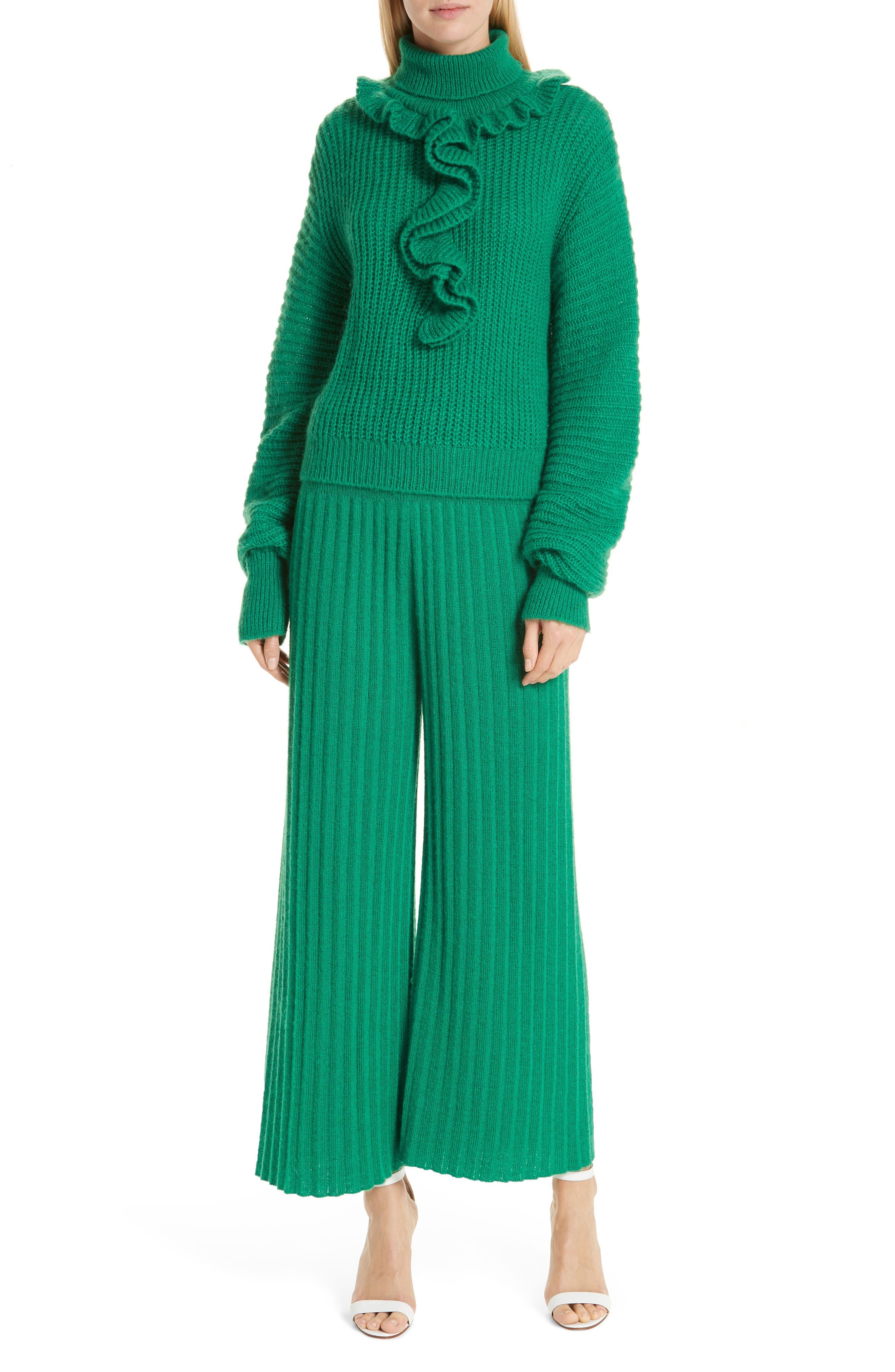 Ruffle Neck Sweater,                             Alternate thumbnail 7, color,                             GRASS GREEN