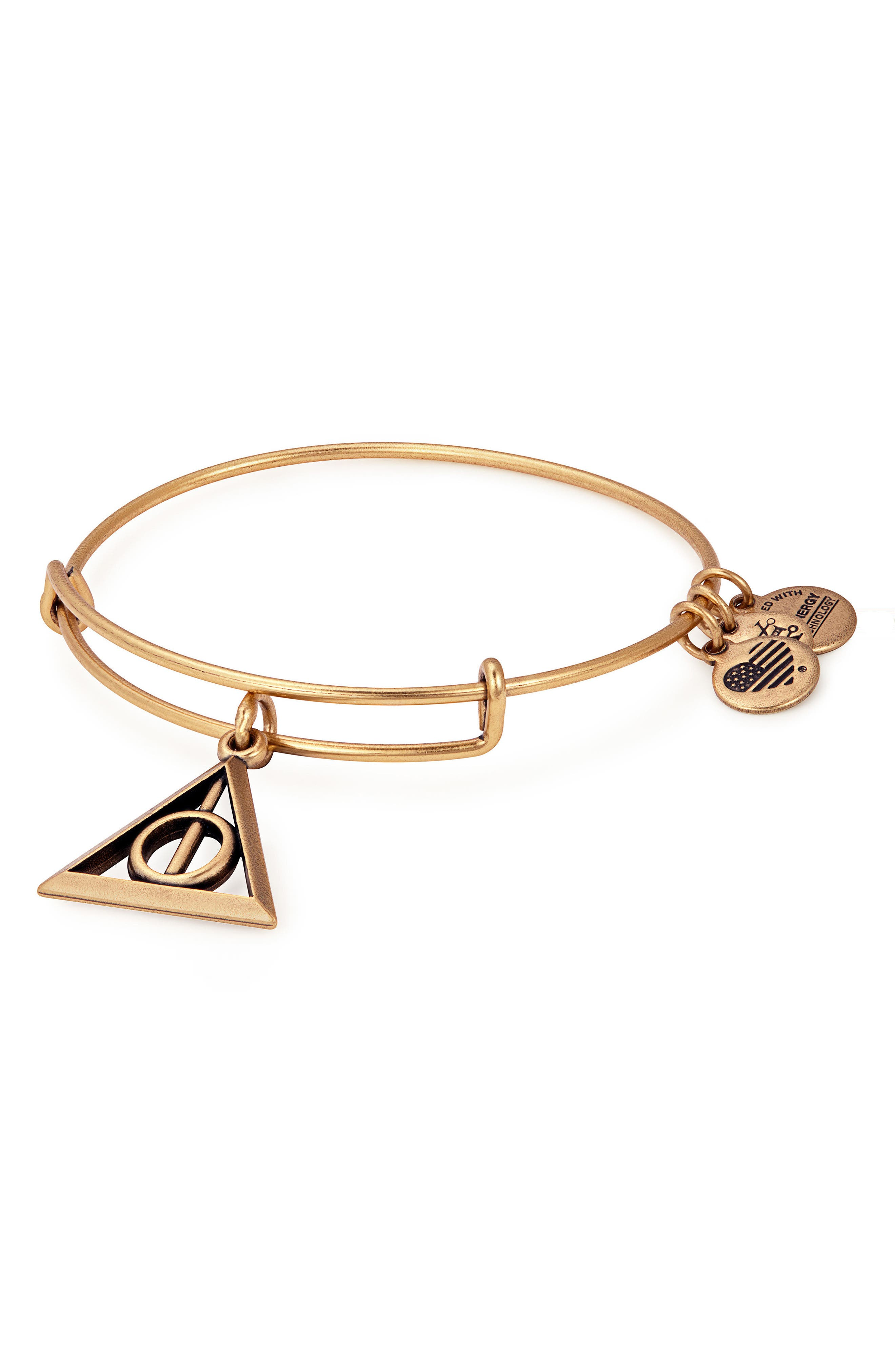 Harry Potter<sup>™</sup> Deathly Hallows<sup>™</sup> Adjustable Wire Bangle,                             Main thumbnail 1, color,                             GOLD