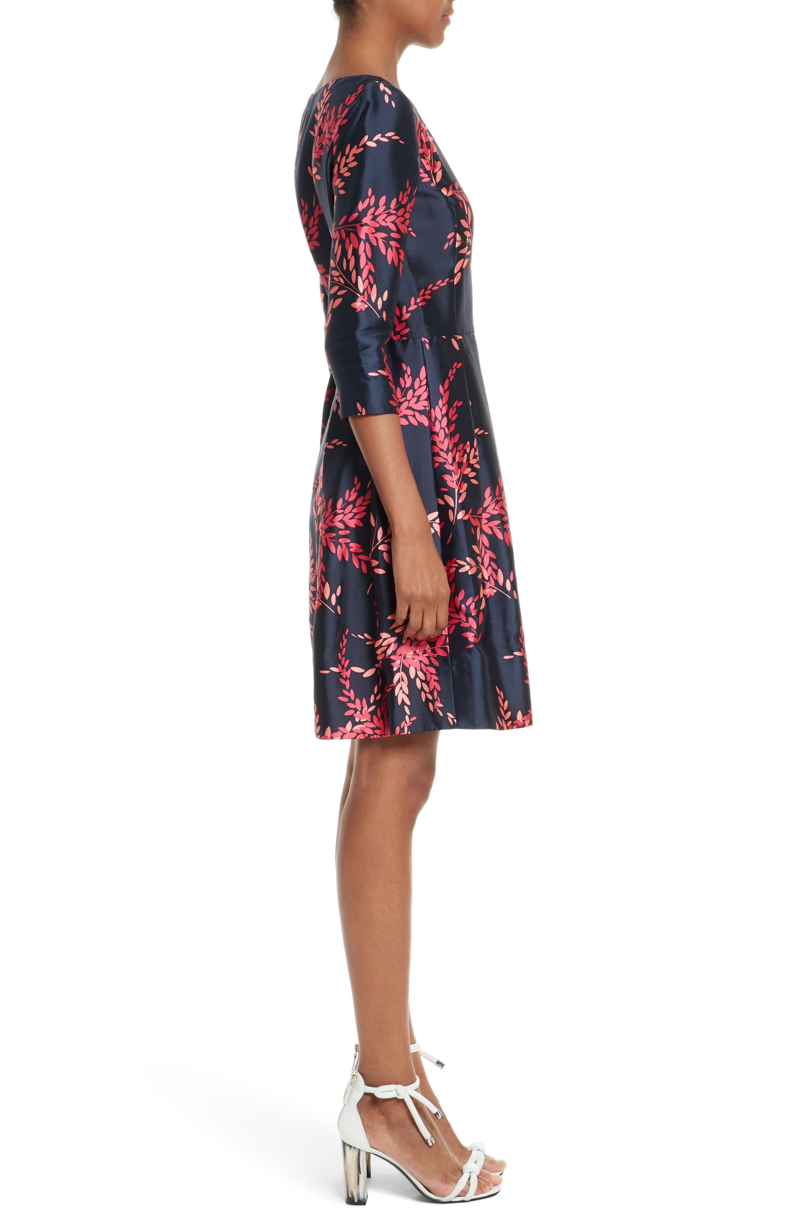 Leaf Print Silk & Cotton Dress,                             Alternate thumbnail 3, color,                             415
