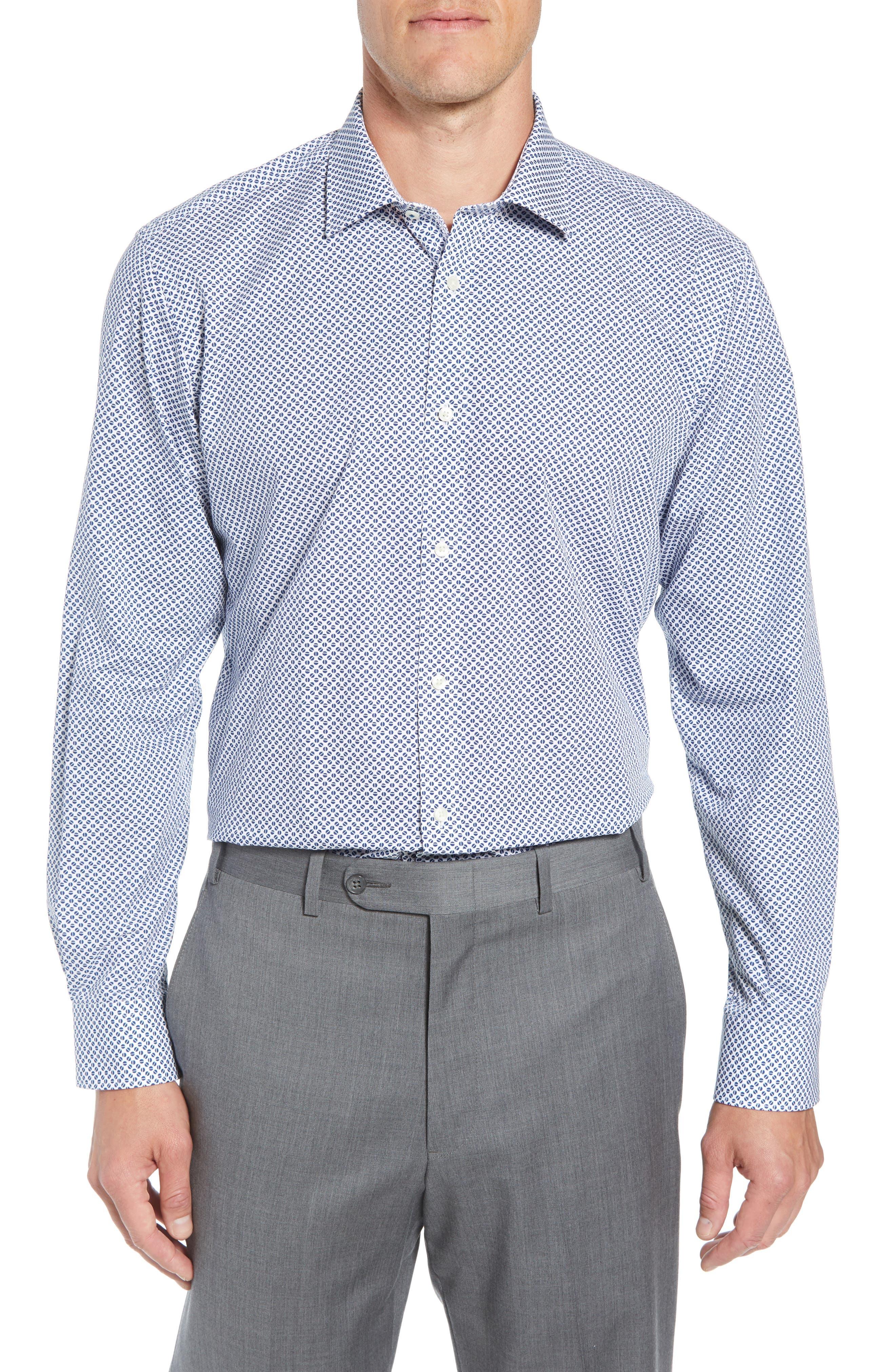 Maratha Trim Fit Print Dress Shirt,                         Main,                         color, WHITE/ BLUE