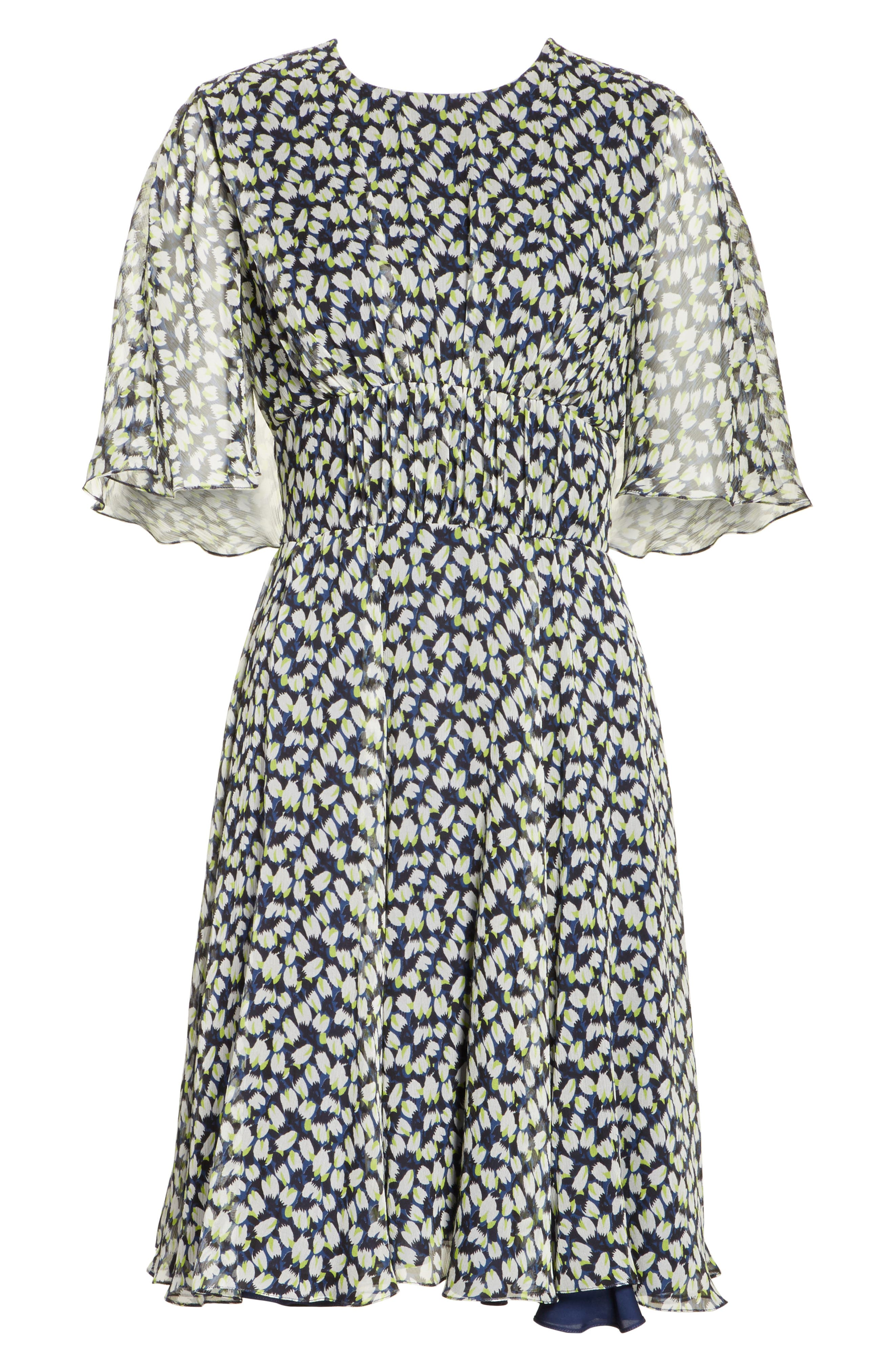 Print Silk Chiffon Day Dress,                             Alternate thumbnail 6, color,