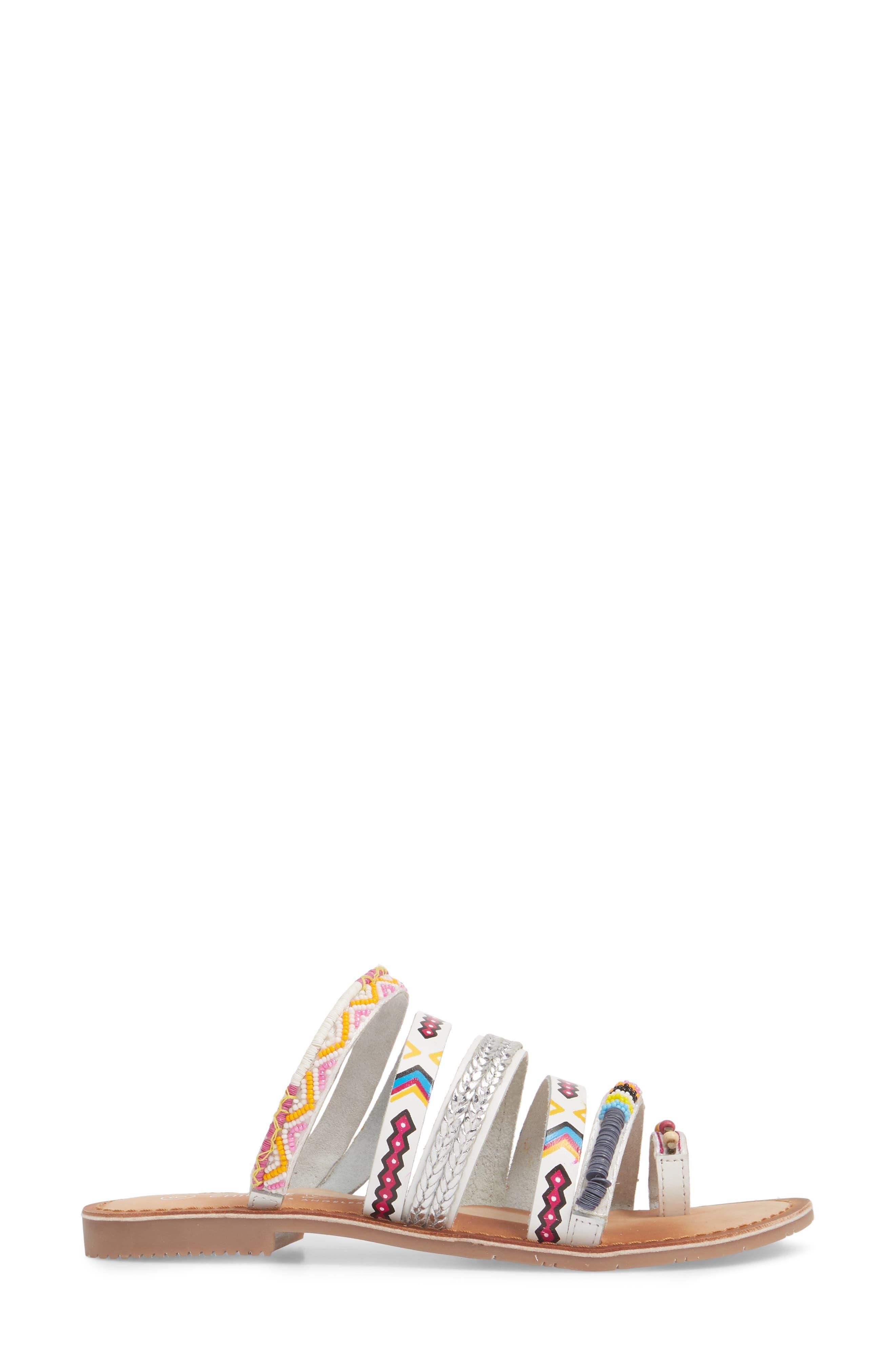 Pandora Embellished Slide Sandal,                             Alternate thumbnail 3, color,                             100