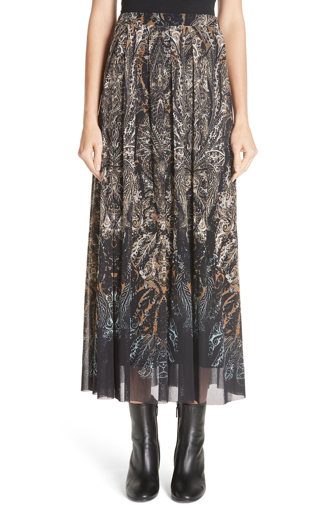 Fuzzi Paisley Tulle Midi Skirt, Black