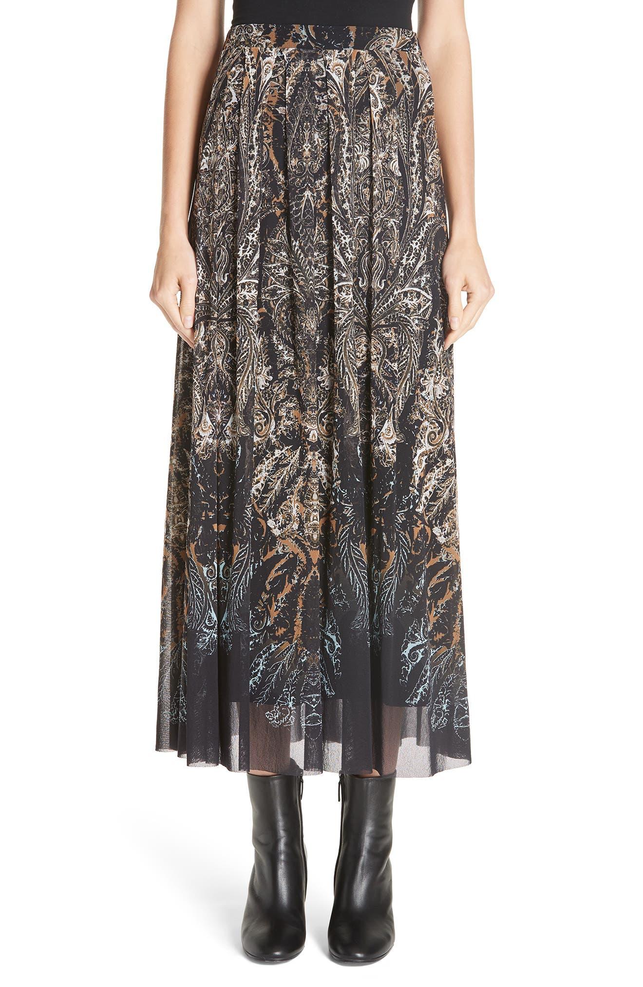Paisley Tulle Midi Skirt,                         Main,                         color, NERO