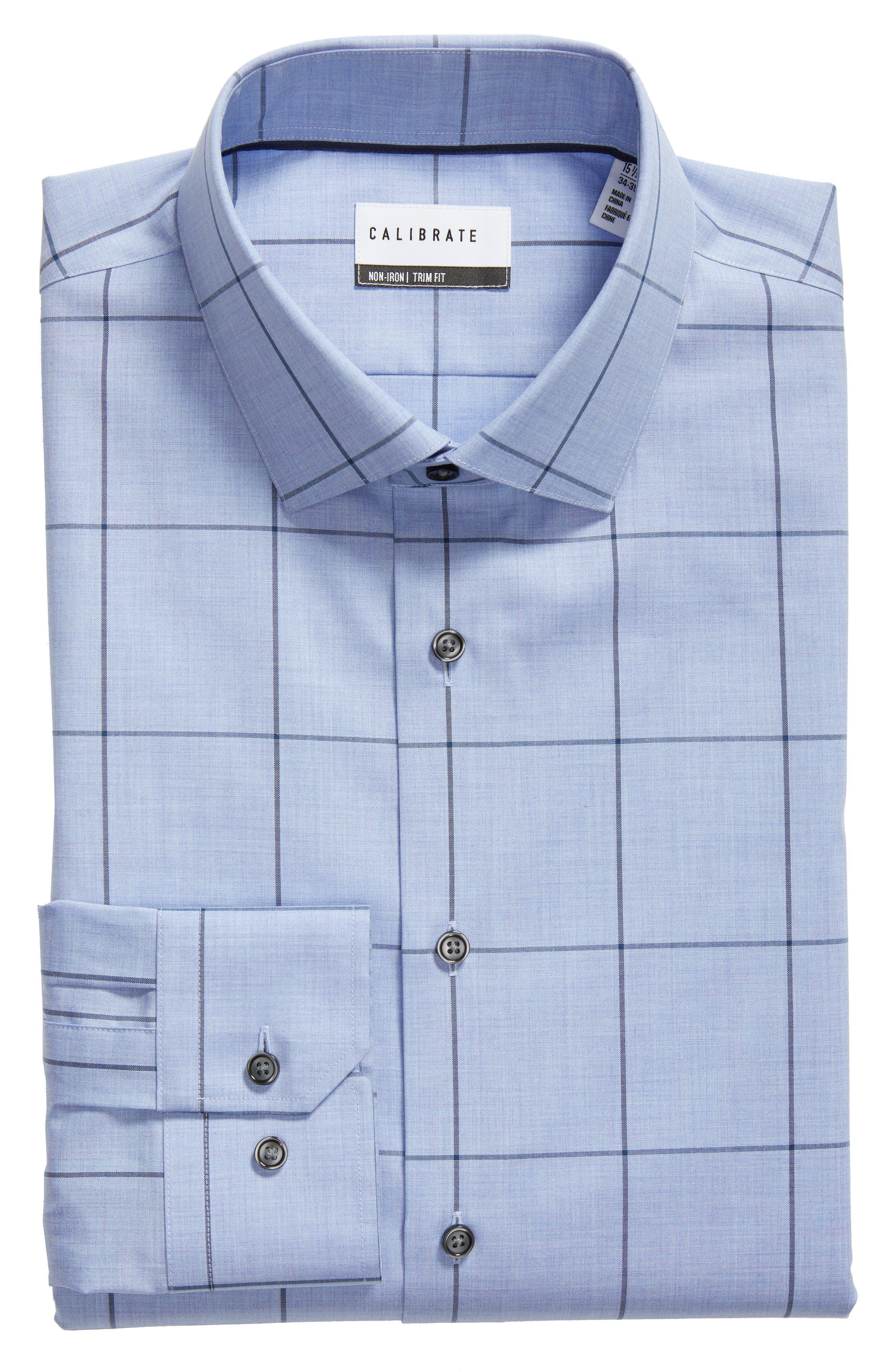 Trim Fit Non-Iron Windowpane Dress Shirt,                             Alternate thumbnail 5, color,                             BLUE HAZE
