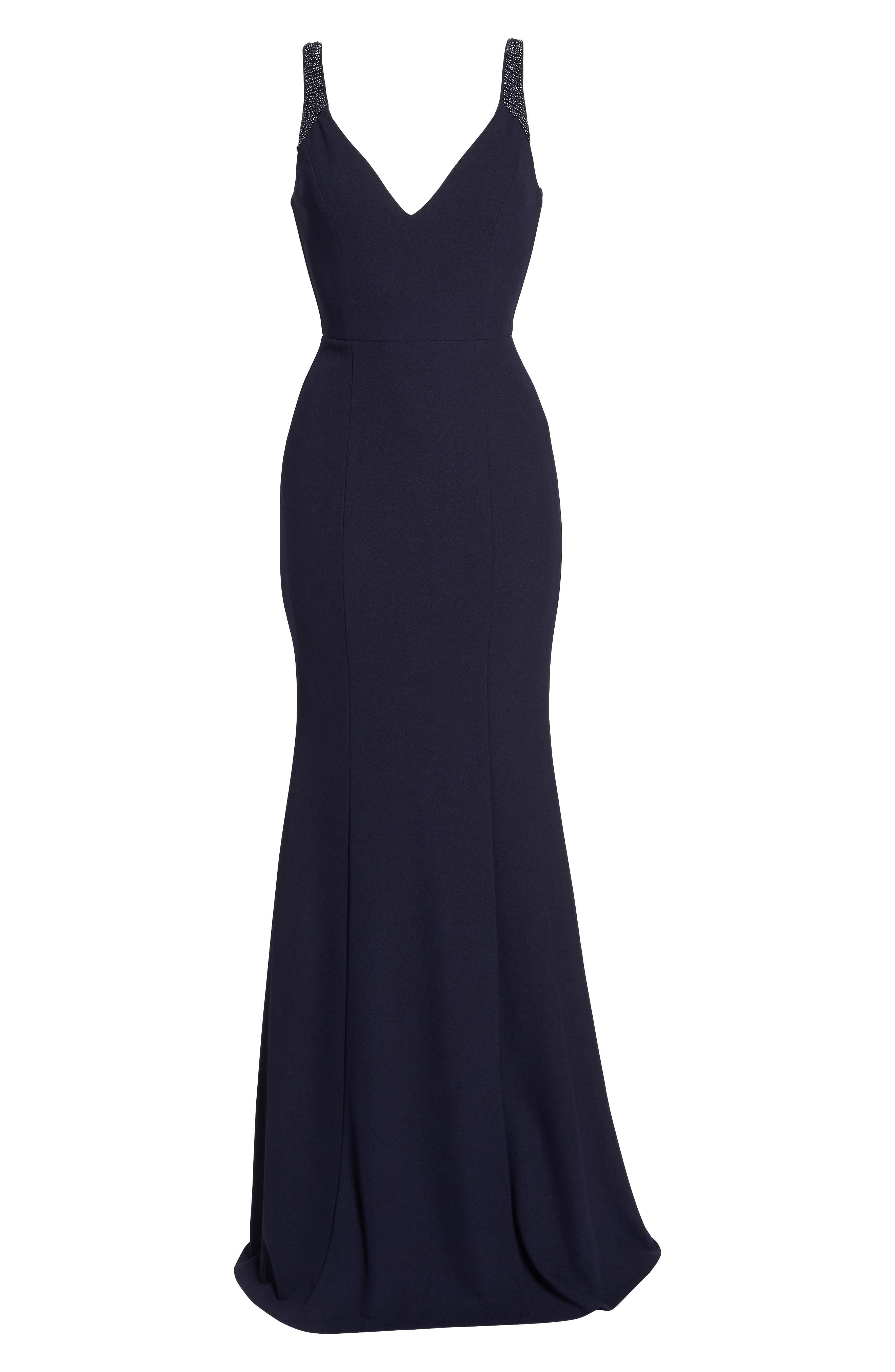 Embellished Strap Trumpet Gown,                             Alternate thumbnail 7, color,                             NAVY