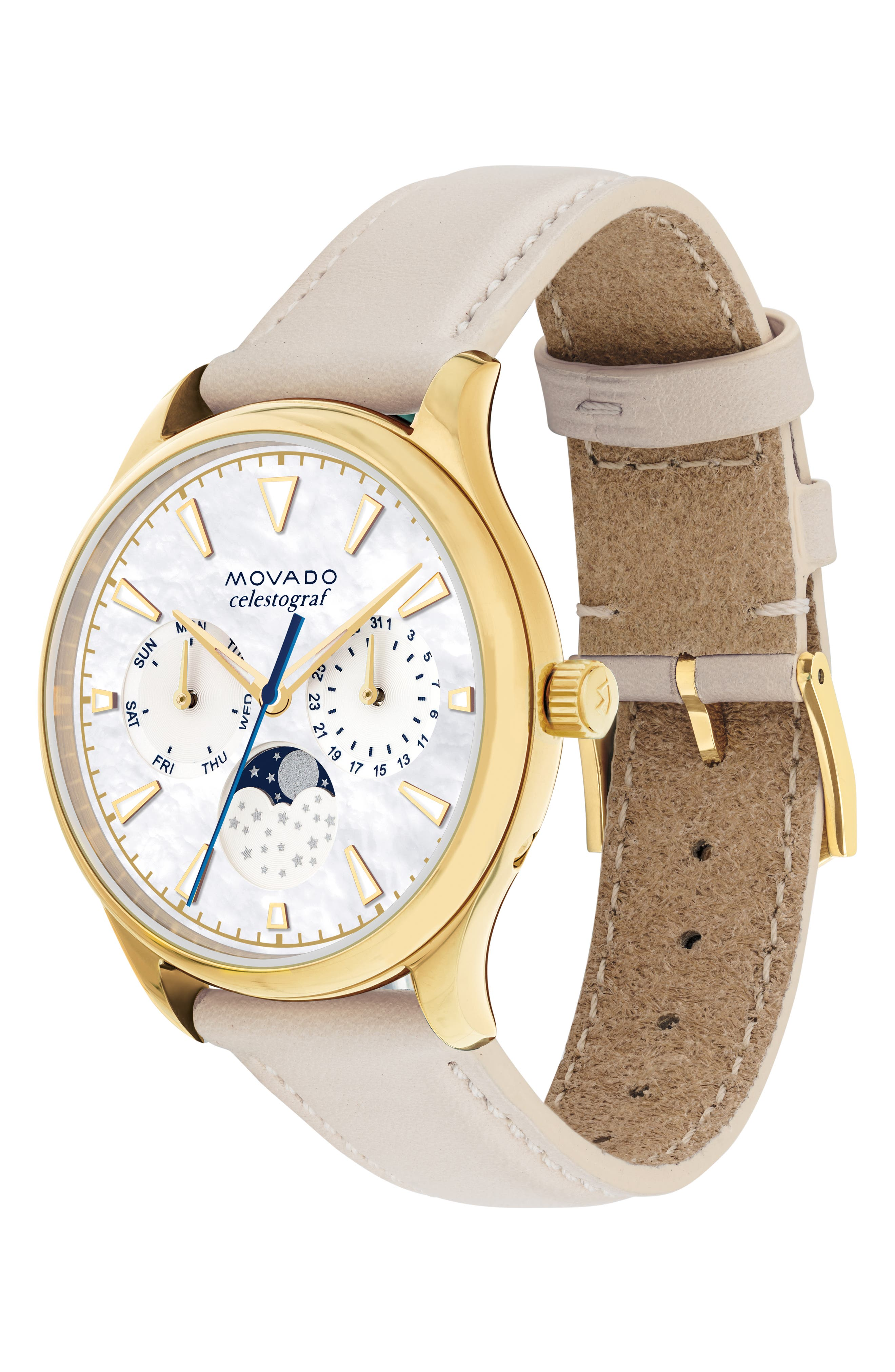 Heritage Celestograf Leather Strap Watch, 36mm,                             Alternate thumbnail 3, color,                             BEIGE/ WHITE MOP/ GOLD