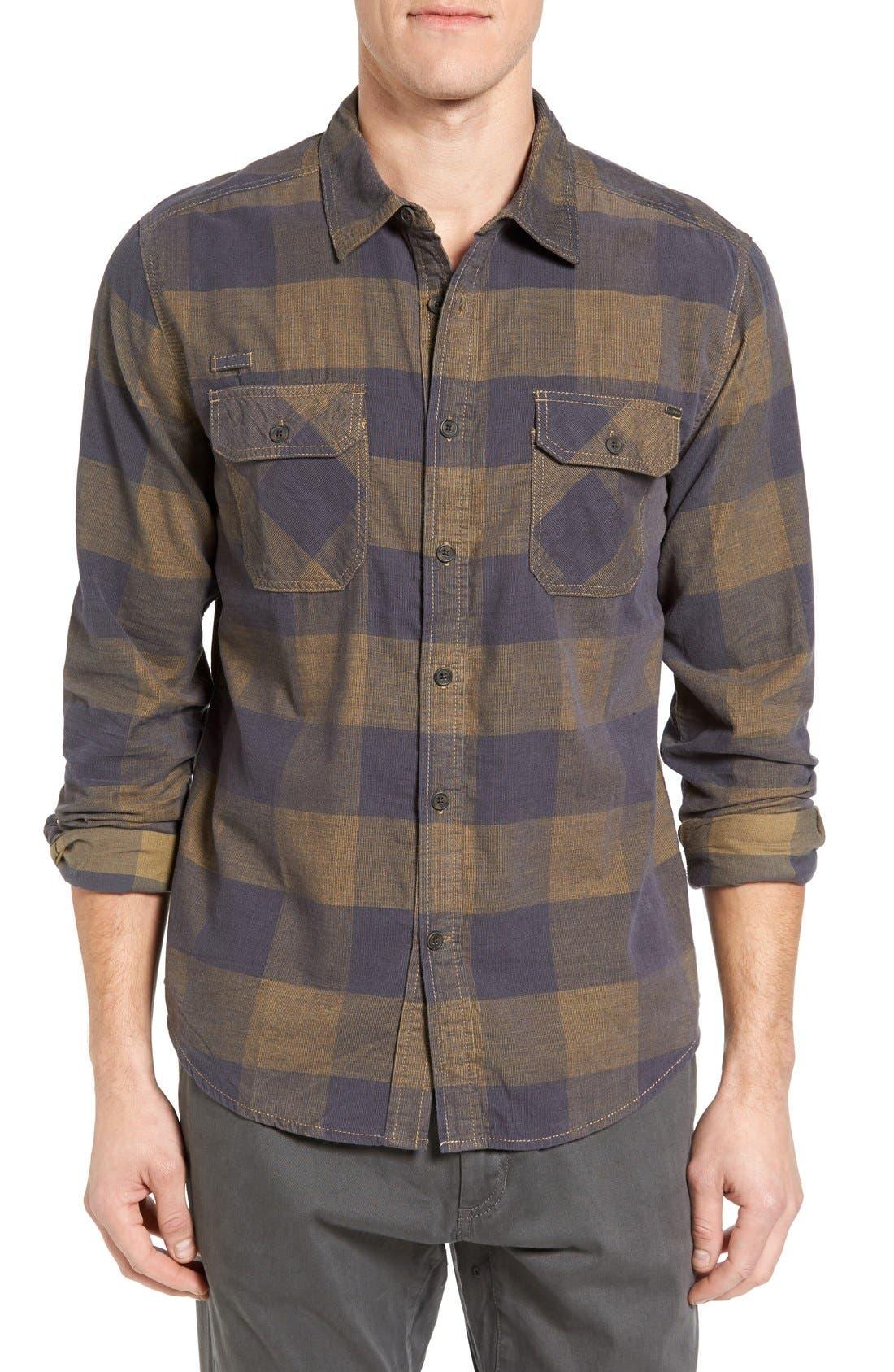 Knock on My Door Regular Fit Check Corduroy Shirt,                             Main thumbnail 1, color,