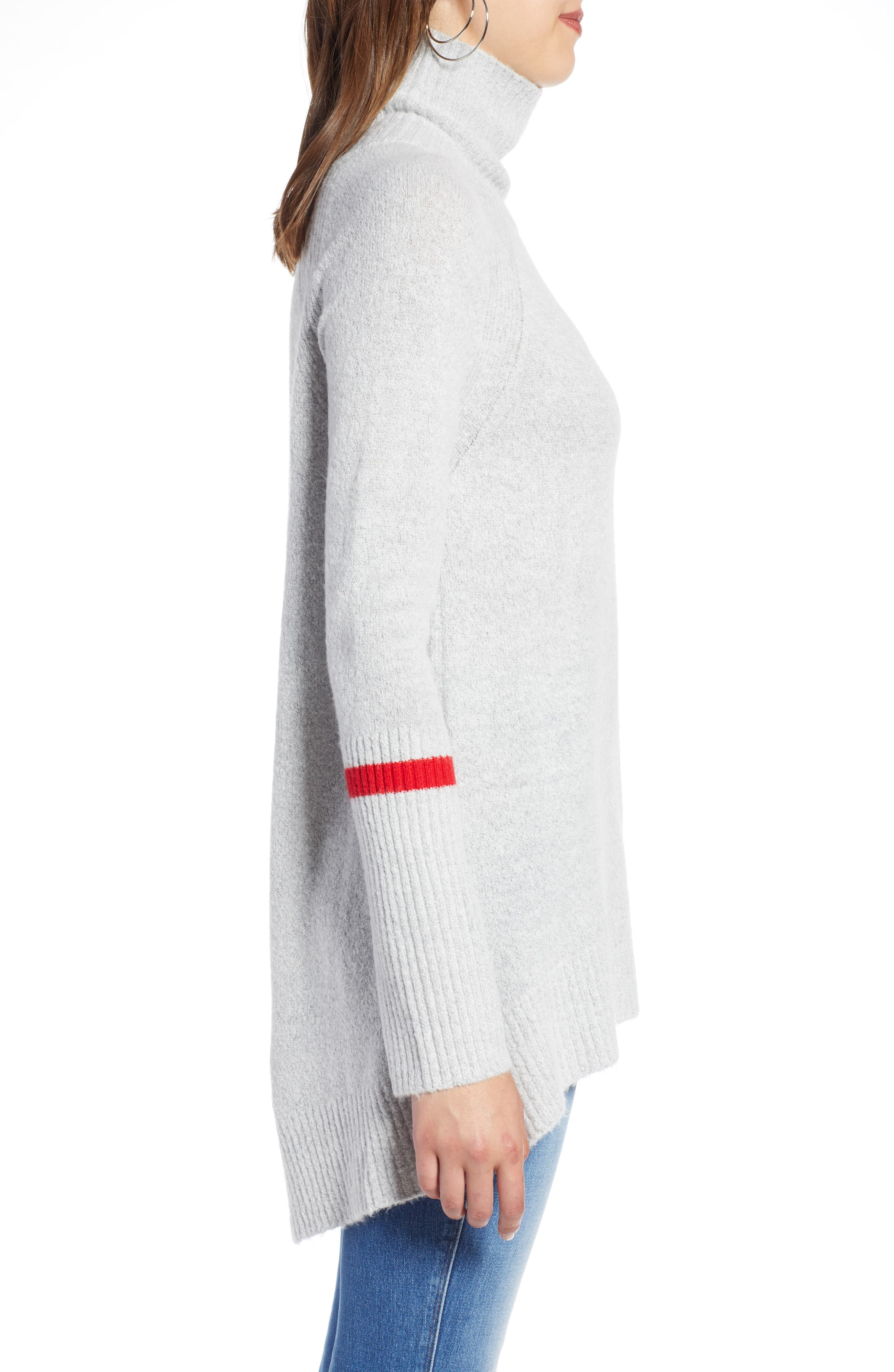 High Low Oversize Wool Blend Sweater,                             Alternate thumbnail 3, color,                             GREY HEATHER- RED