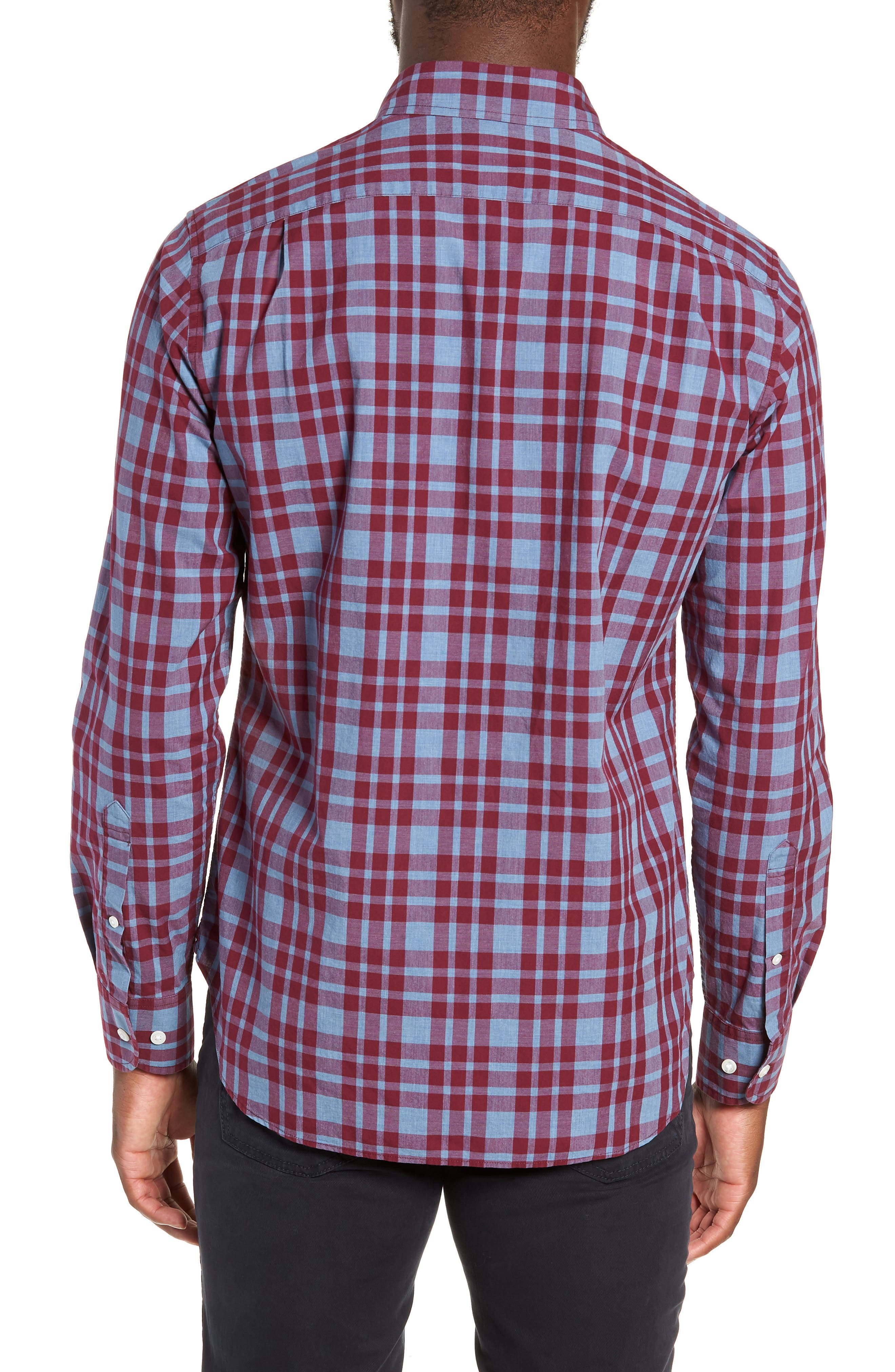 Washed Button Down Slim Fit Plaid Sport Shirt,                             Alternate thumbnail 3, color,                             HARDY PLAID - HEATHER DENIM