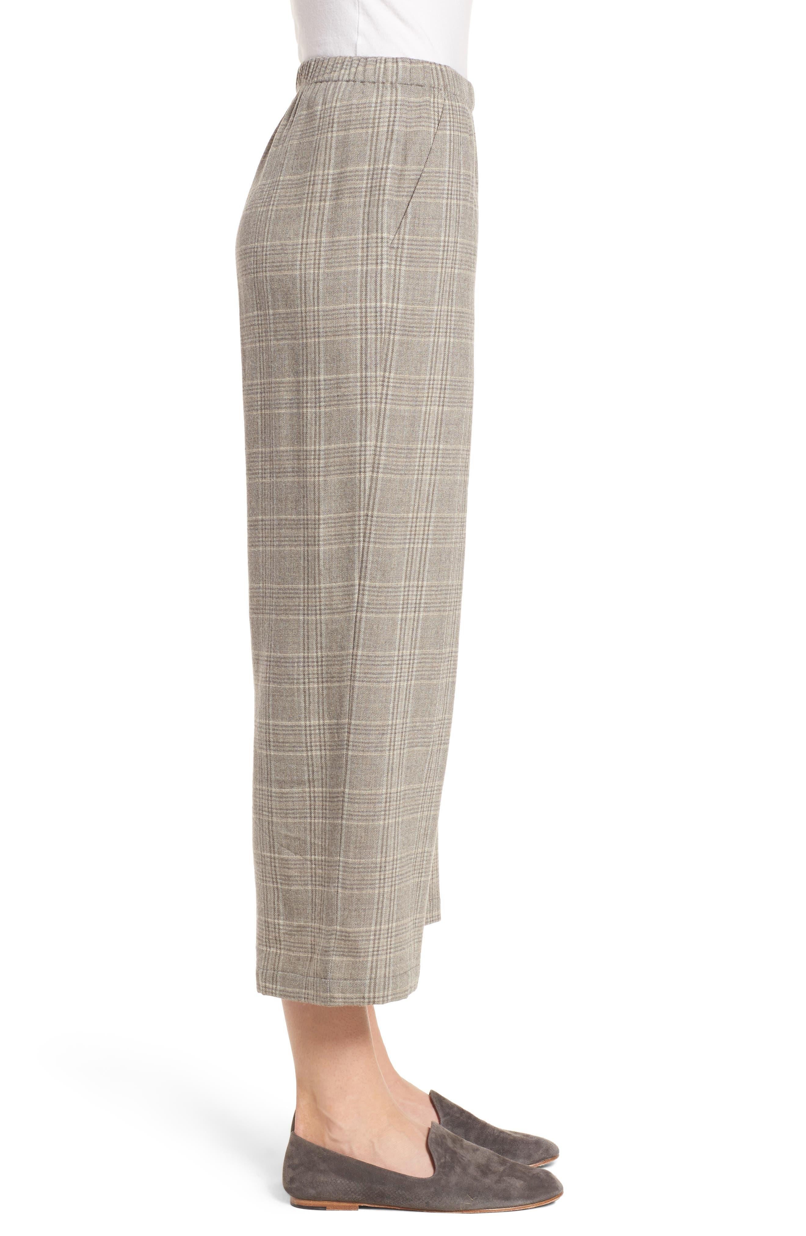 Plaid Wide Leg Crop Pants,                             Alternate thumbnail 3, color,                             542