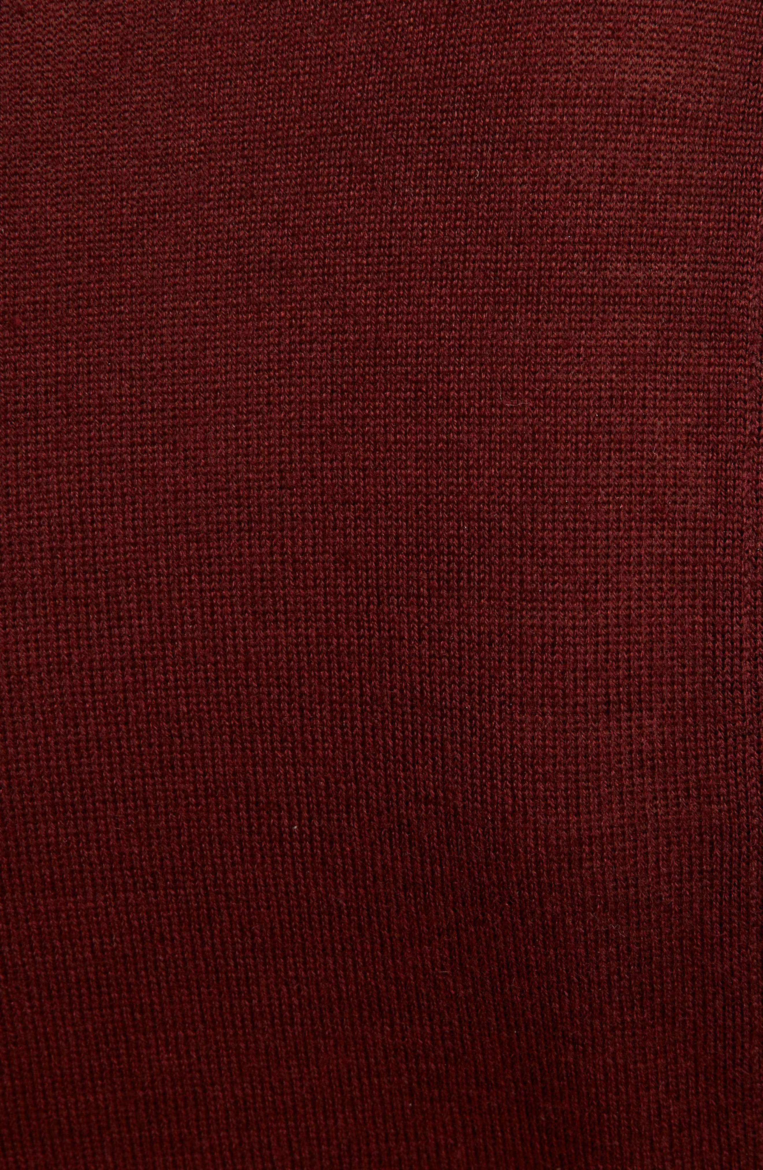 Lace Inset Wool & Silk Sweater,                             Alternate thumbnail 5, color,                             DARK RED