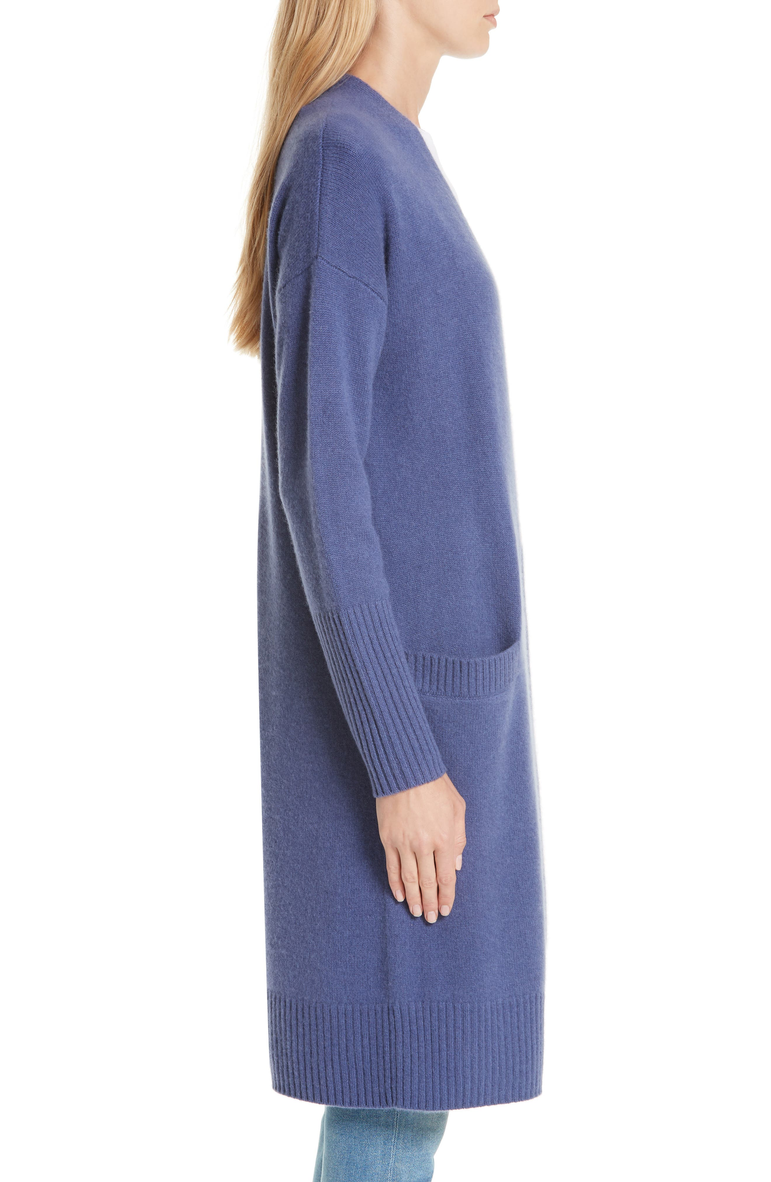 Boiled Cashmere Open Cardigan,                             Alternate thumbnail 3, color,                             BLUE MARLIN